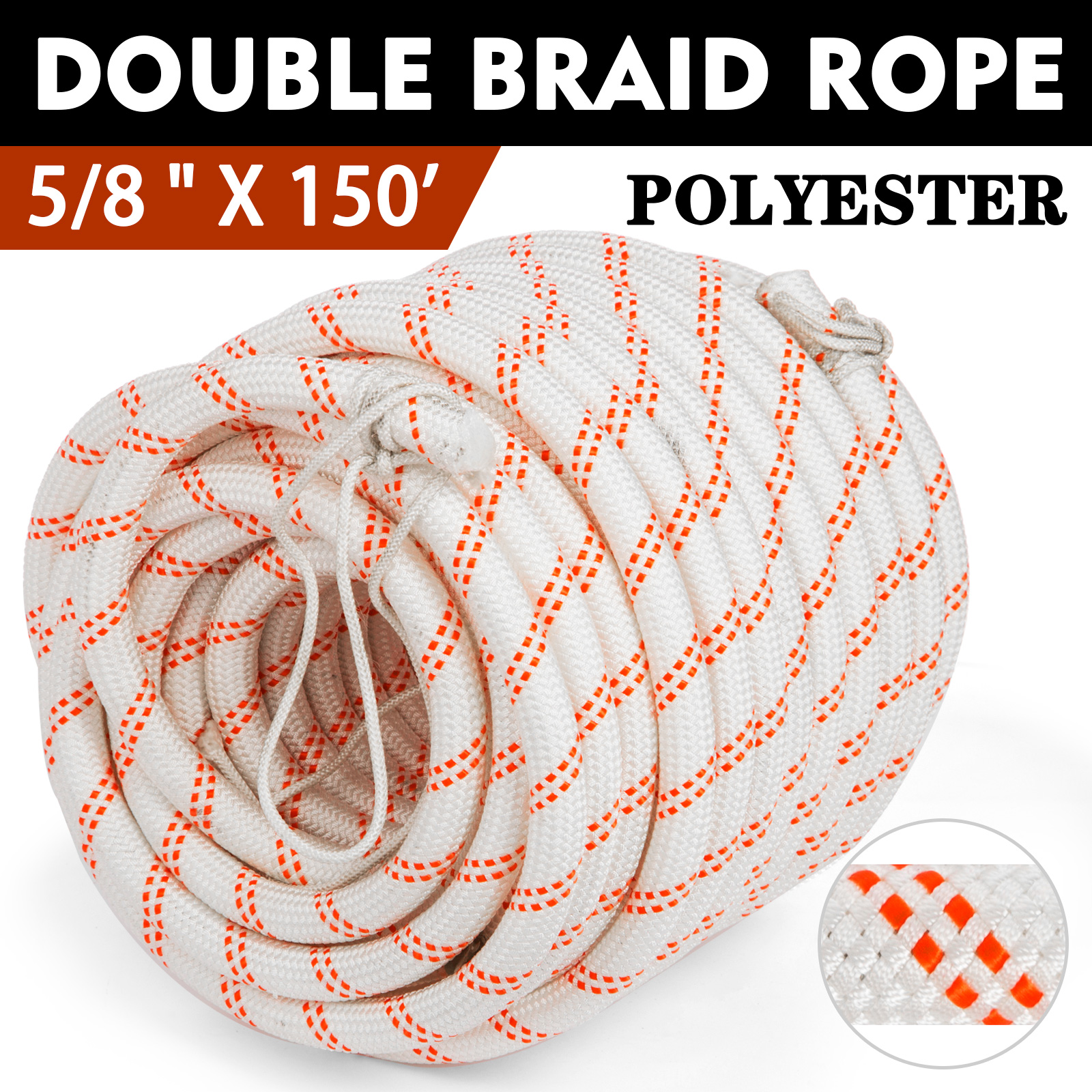 3//8 300 Braid Polyster Pulling Rope Double Braid Cable  High Force with Thimble