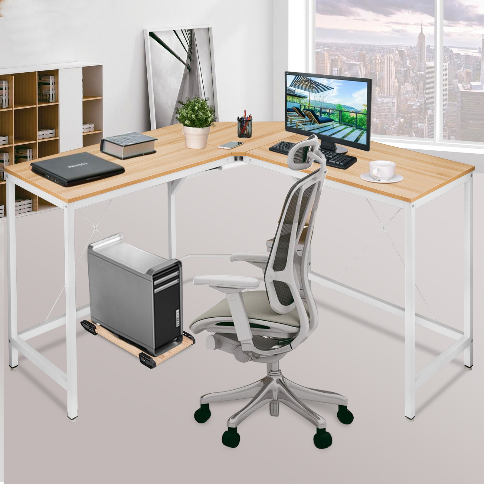 Corner computer desk pc table workstation home office oak white watch this item email a friend
