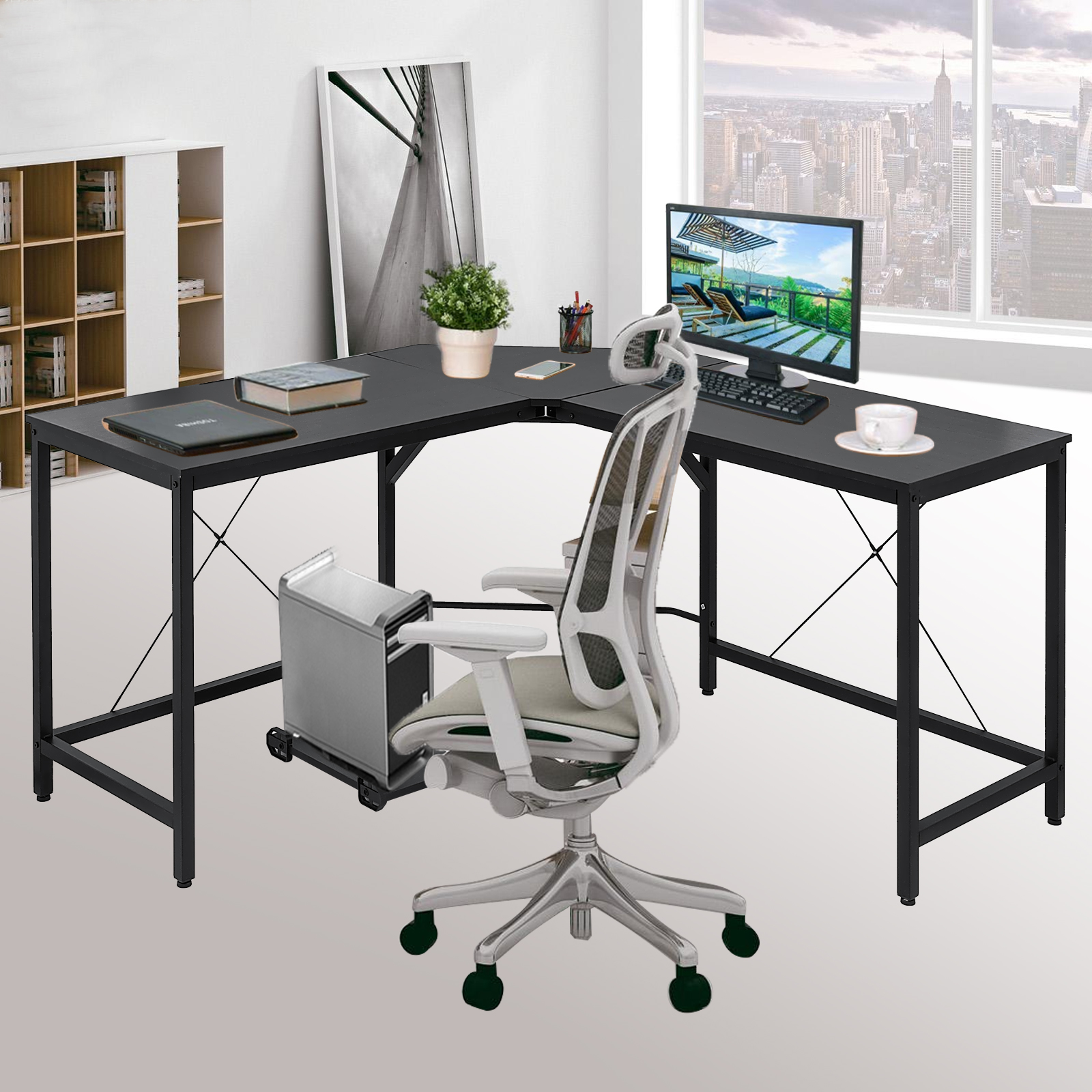 Details About L Shaped Corner Computer Desk Home Office Footrest Limited  Room Easy Install
