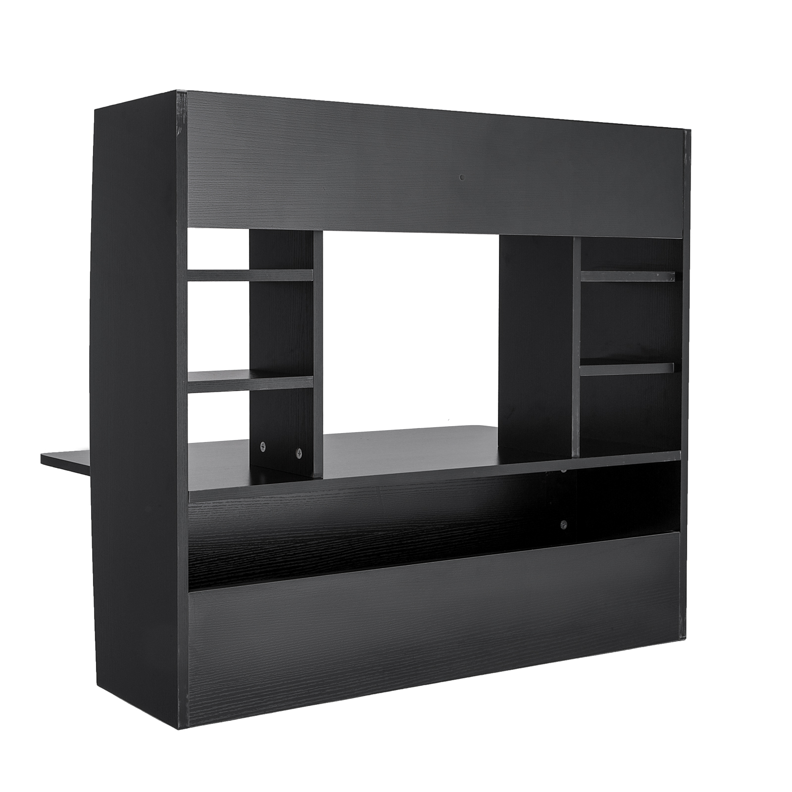 Wall Mounted Floating Computer Desk With Storage Shelf