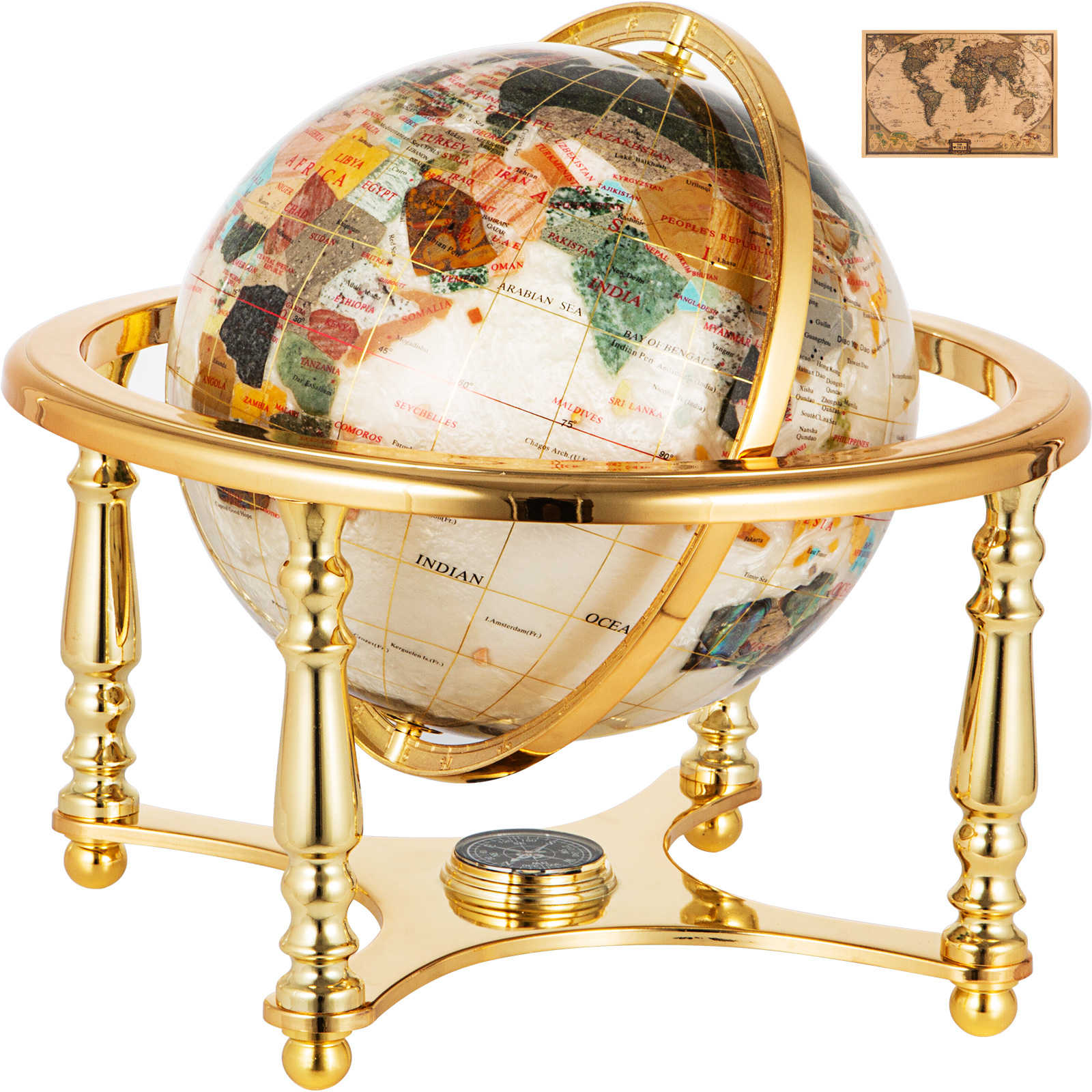 thumbnail 97 - VEVOR 36/21/14 World Globe with Stand Compass Vintage Pearl +Map