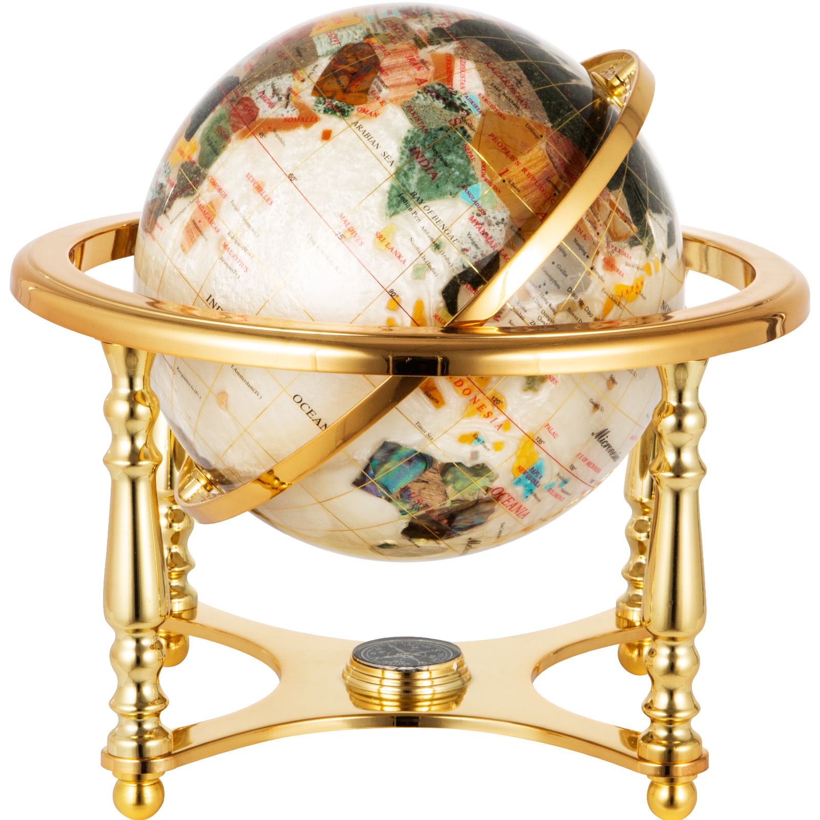 thumbnail 106 - VEVOR 36/21/14 World Globe with Stand Compass Vintage Pearl +Map