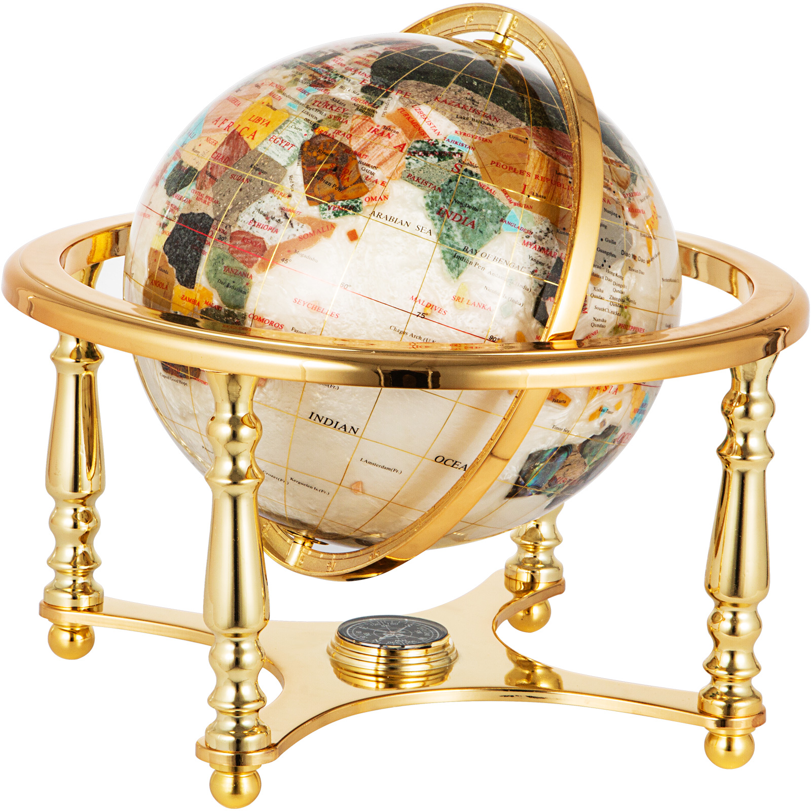 thumbnail 108 - VEVOR 36/21/14 World Globe with Stand Compass Vintage Pearl +Map