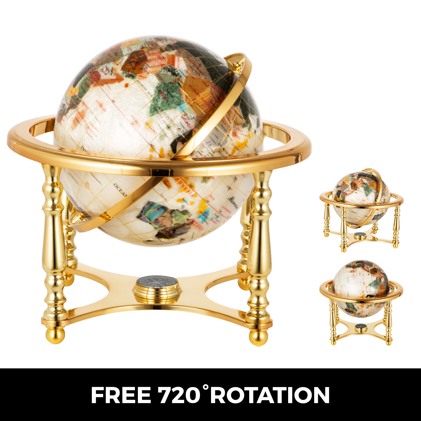 thumbnail 98 - VEVOR 36/21/14 World Globe with Stand Compass Vintage Pearl +Map