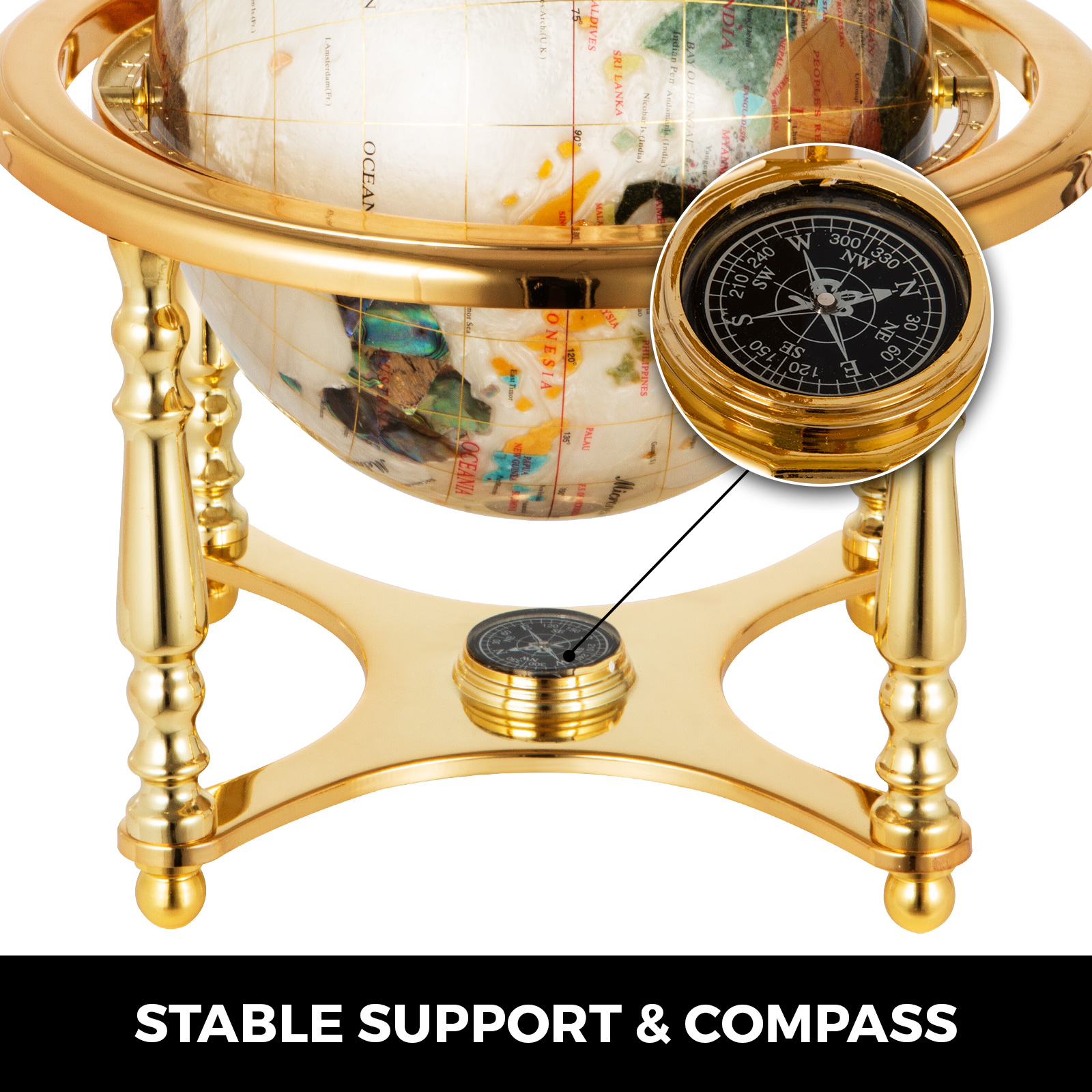 thumbnail 100 - VEVOR 36/21/14 World Globe with Stand Compass Vintage Pearl +Map