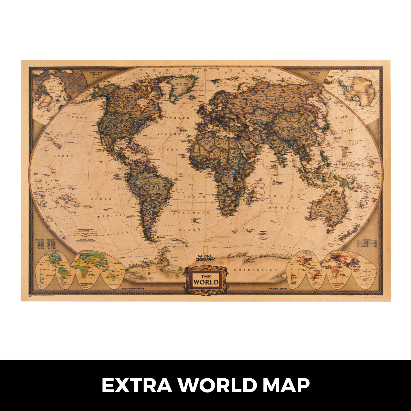 thumbnail 101 - VEVOR 36/21/14 World Globe with Stand Compass Vintage Pearl +Map