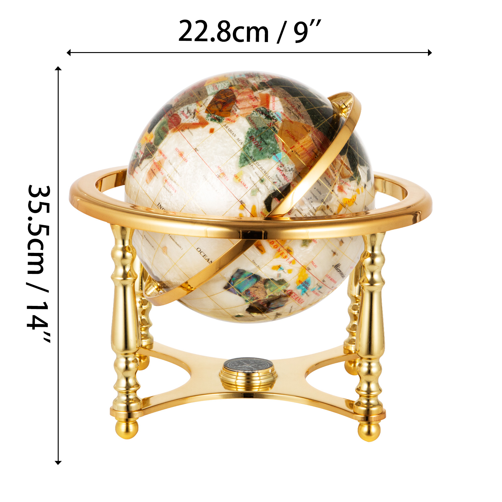 thumbnail 104 - VEVOR 36/21/14 World Globe with Stand Compass Vintage Pearl +Map