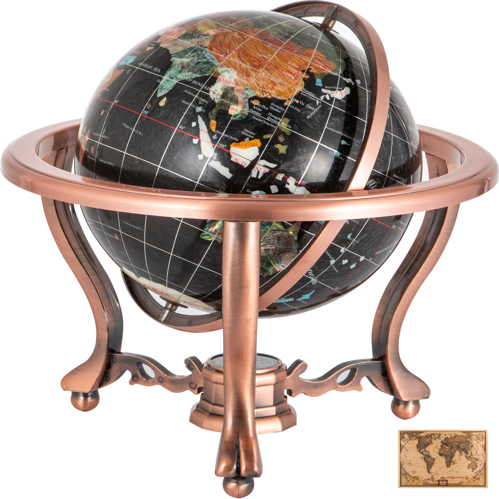 thumbnail 85 - VEVOR 36/21/14 World Globe with Stand Compass Vintage Pearl +Map