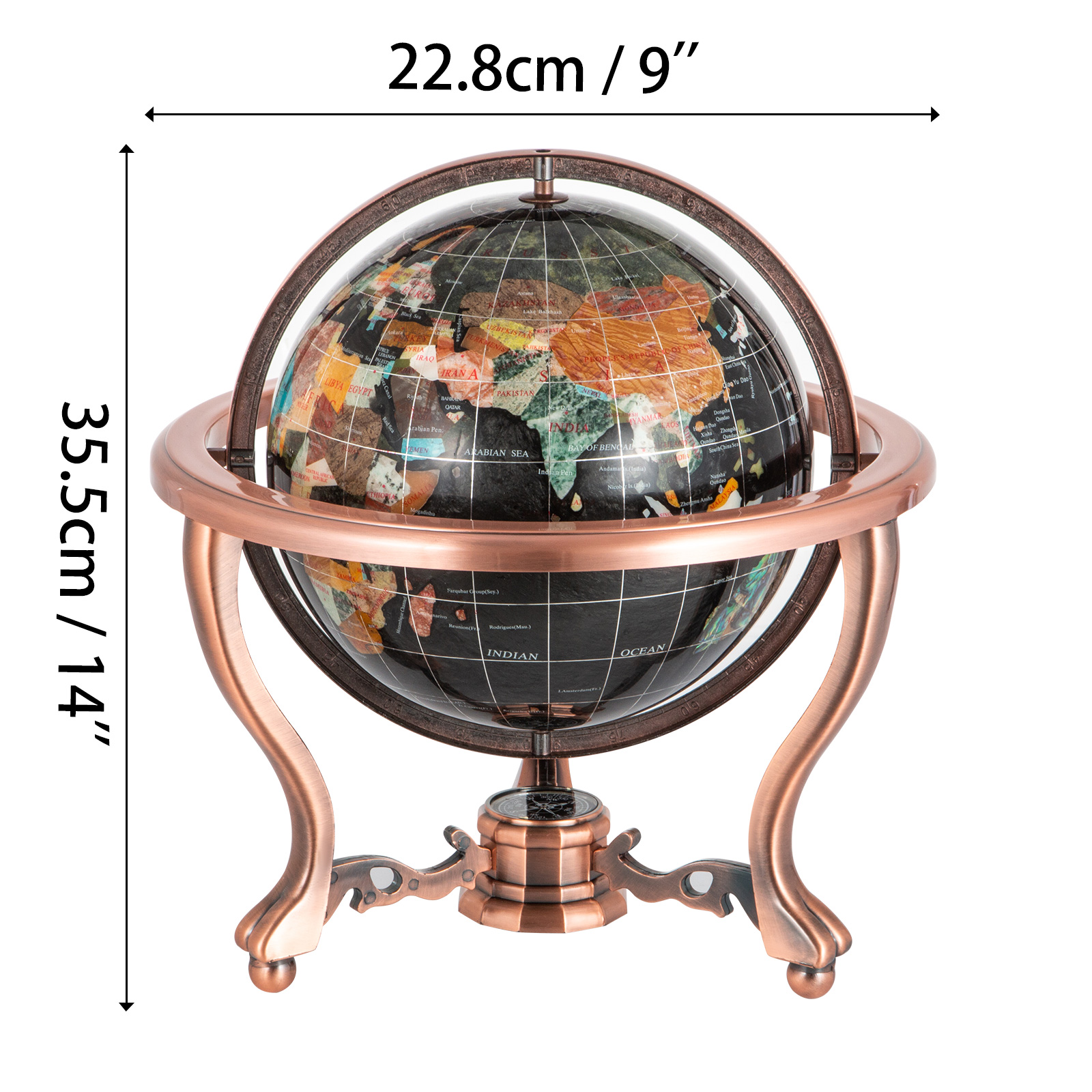 thumbnail 92 - VEVOR 36/21/14 World Globe with Stand Compass Vintage Pearl +Map