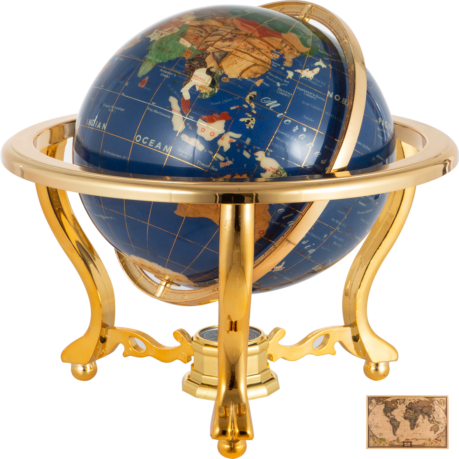thumbnail 73 - VEVOR 36/21/14 World Globe with Stand Compass Vintage Pearl +Map