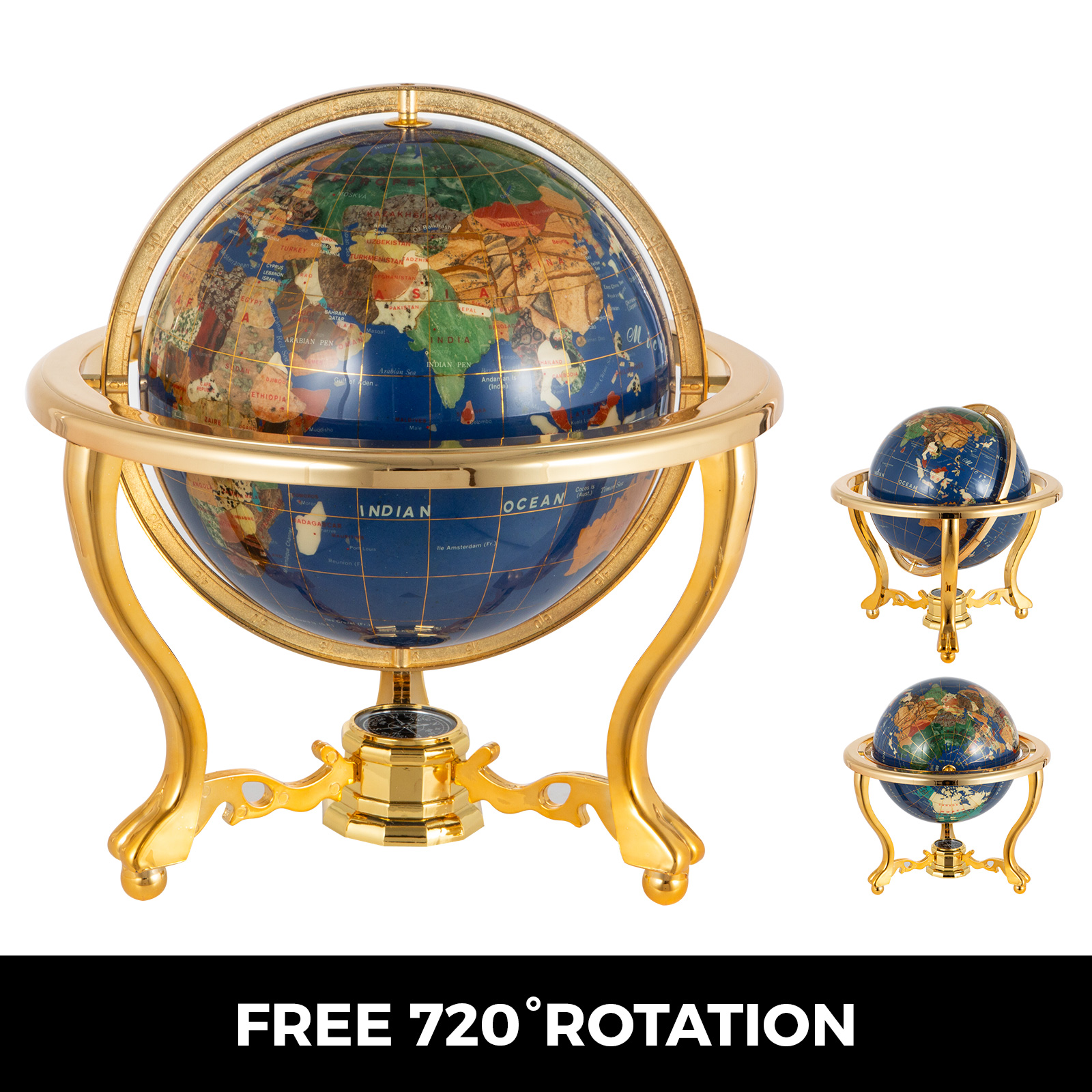 thumbnail 74 - VEVOR 36/21/14 World Globe with Stand Compass Vintage Pearl +Map