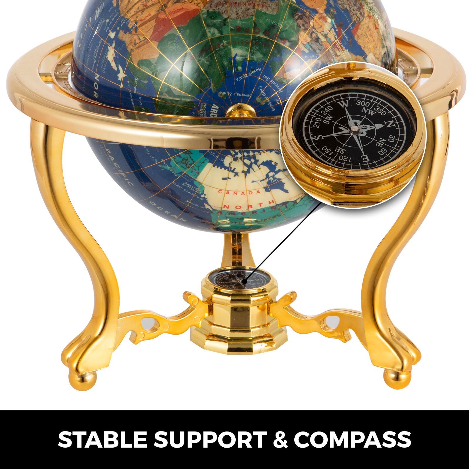 thumbnail 76 - VEVOR 36/21/14 World Globe with Stand Compass Vintage Pearl +Map