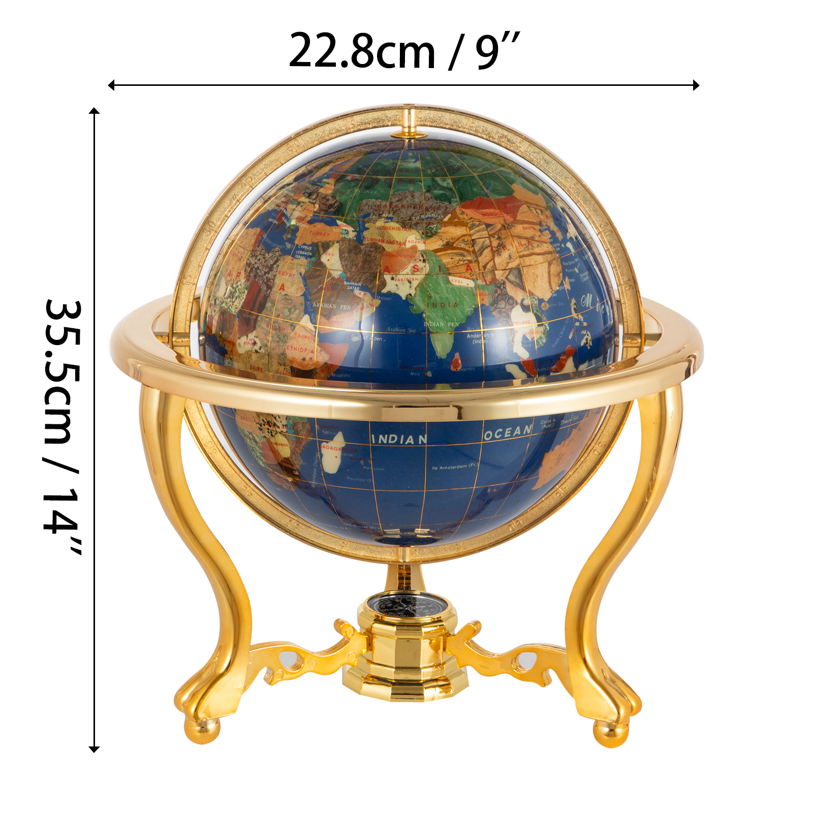 thumbnail 80 - VEVOR 36/21/14 World Globe with Stand Compass Vintage Pearl +Map