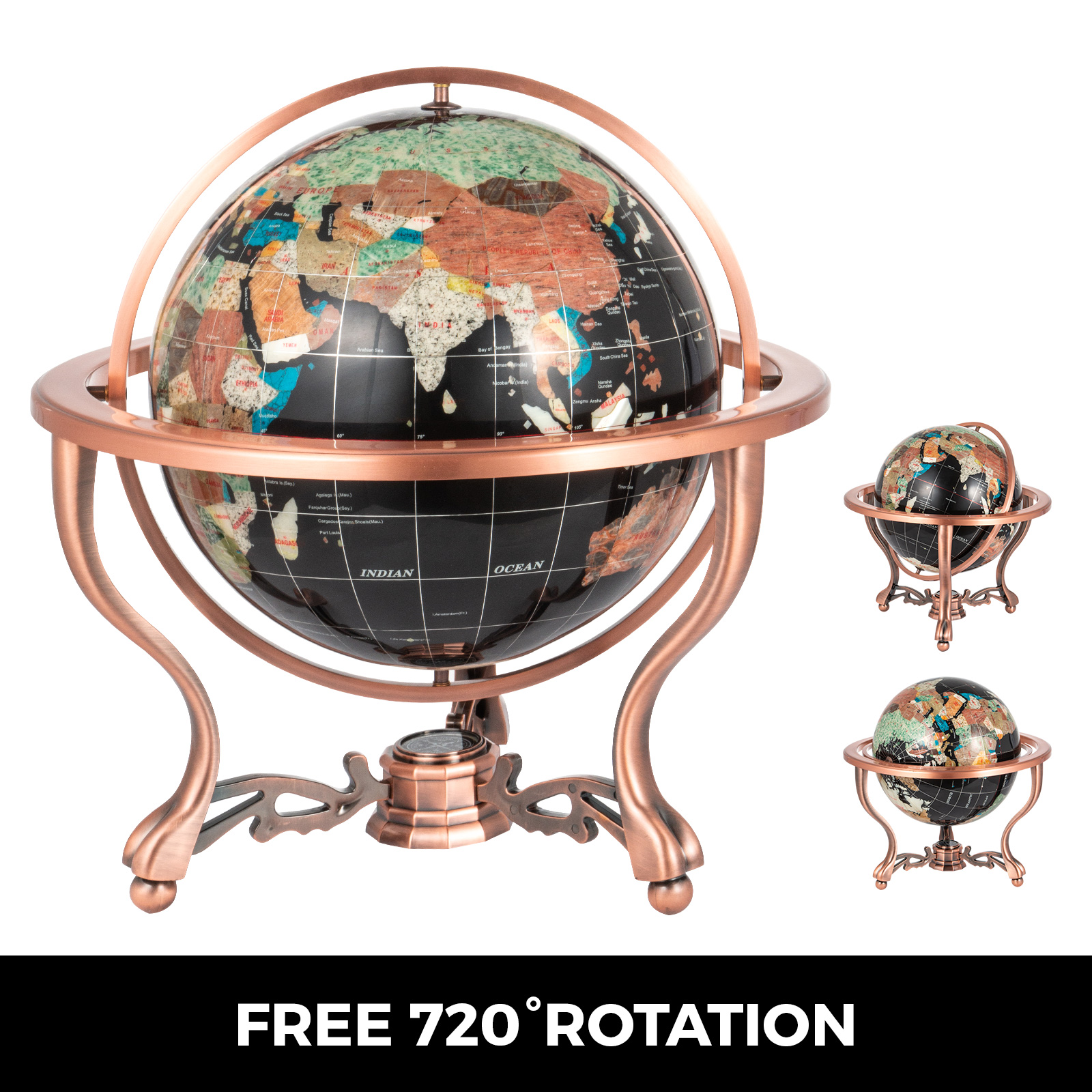 thumbnail 62 - VEVOR 36/21/14 World Globe with Stand Compass Vintage Pearl +Map