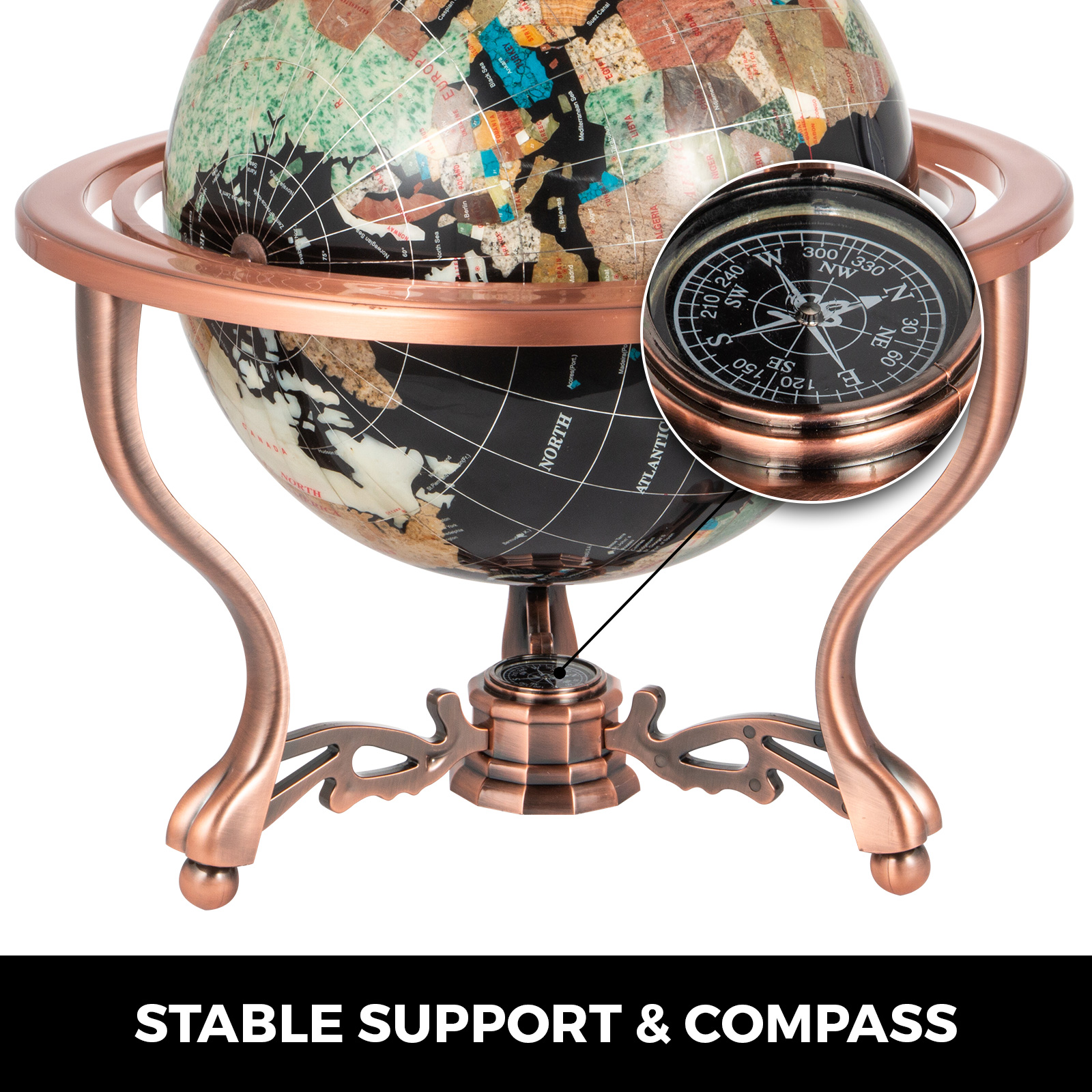 thumbnail 64 - VEVOR 36/21/14 World Globe with Stand Compass Vintage Pearl +Map