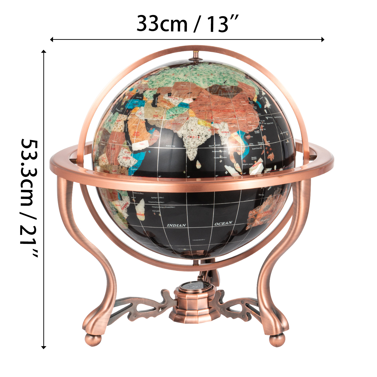 thumbnail 68 - VEVOR 36/21/14 World Globe with Stand Compass Vintage Pearl +Map