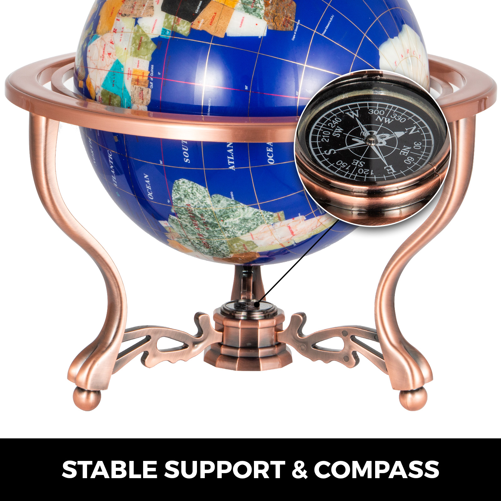 thumbnail 40 - VEVOR 36/21/14 World Globe with Stand Compass Vintage Pearl +Map