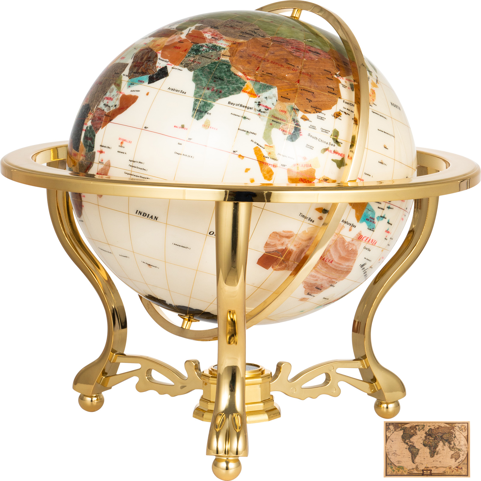 thumbnail 49 - VEVOR 36/21/14 World Globe with Stand Compass Vintage Pearl +Map