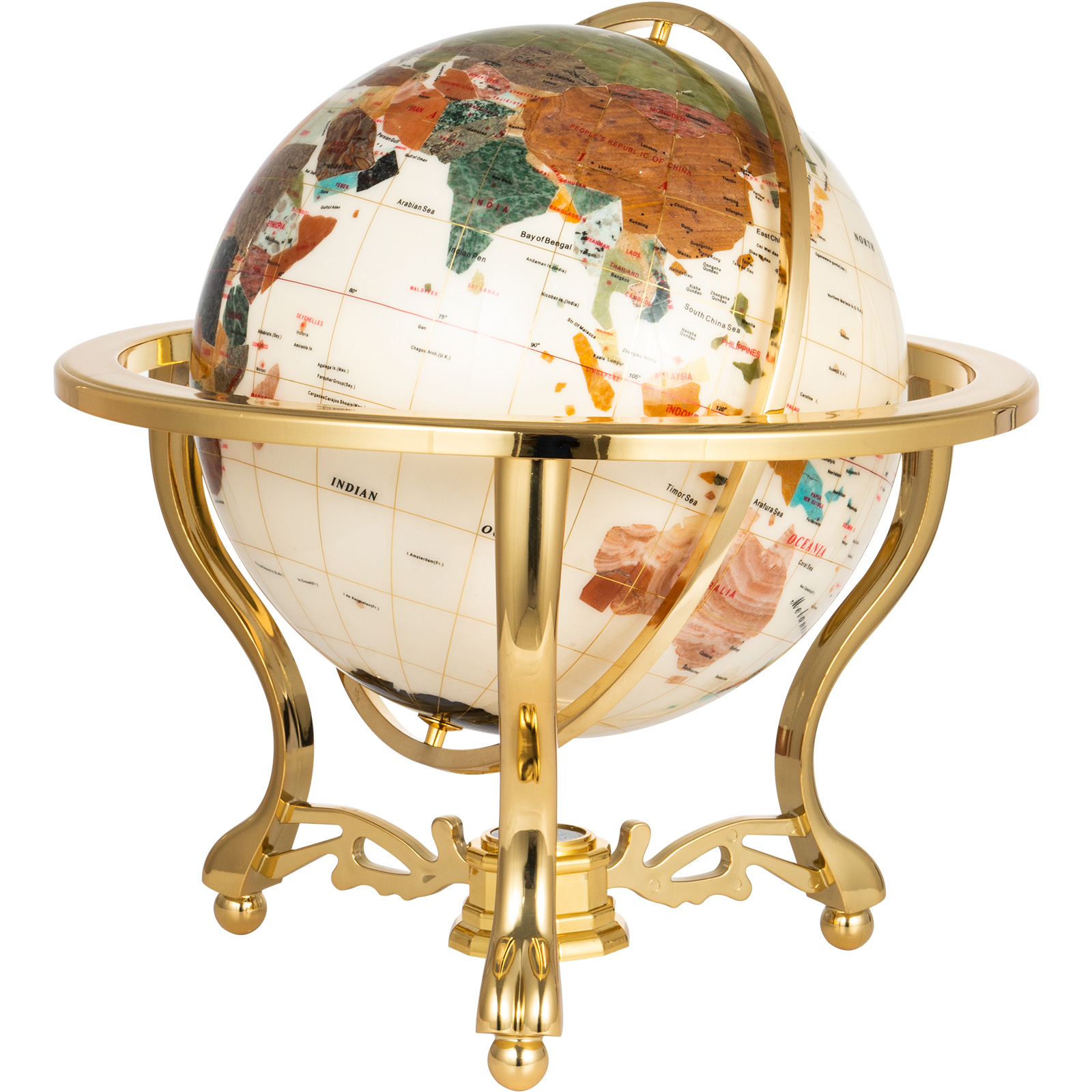 thumbnail 60 - VEVOR 36/21/14 World Globe with Stand Compass Vintage Pearl +Map