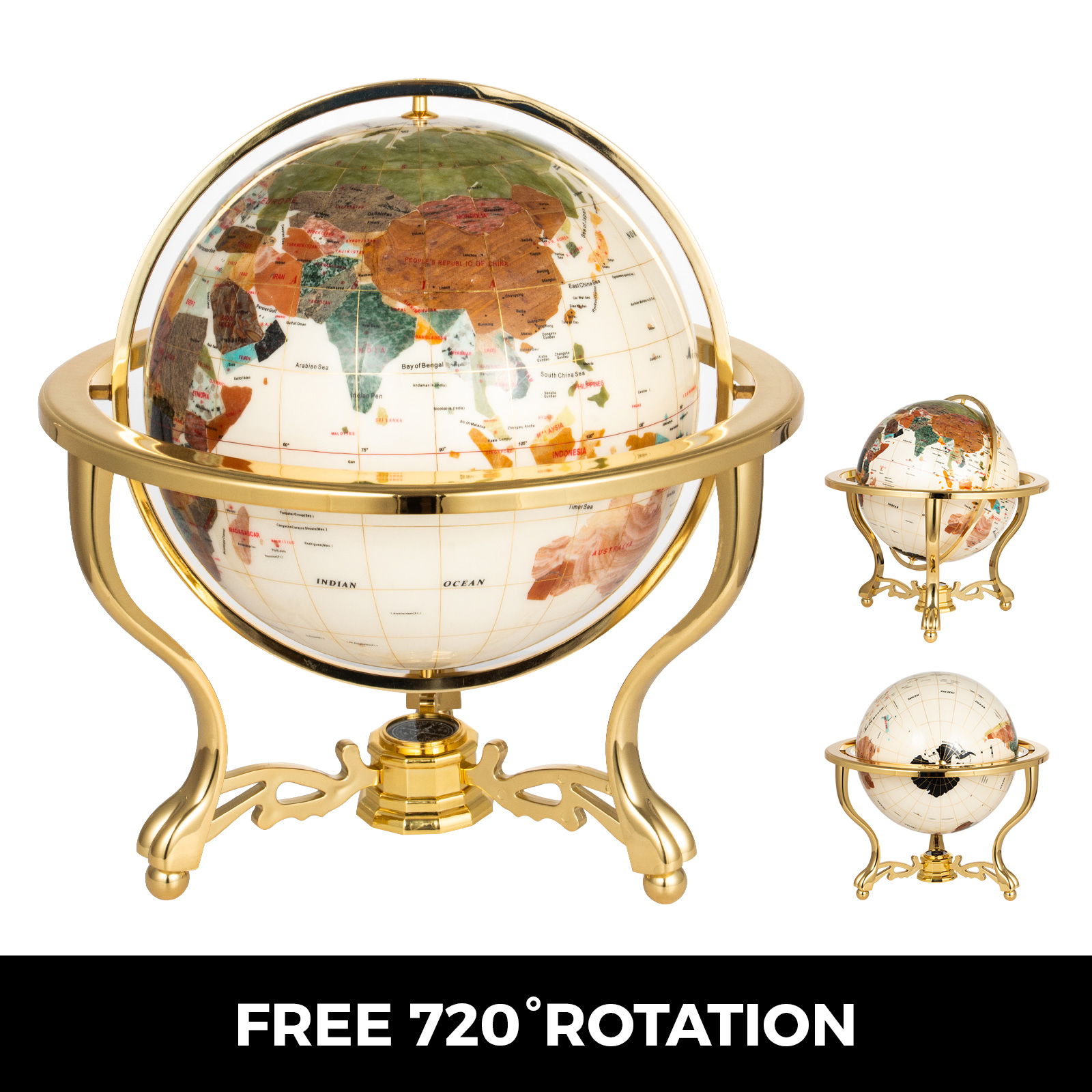 thumbnail 50 - VEVOR 36/21/14 World Globe with Stand Compass Vintage Pearl +Map