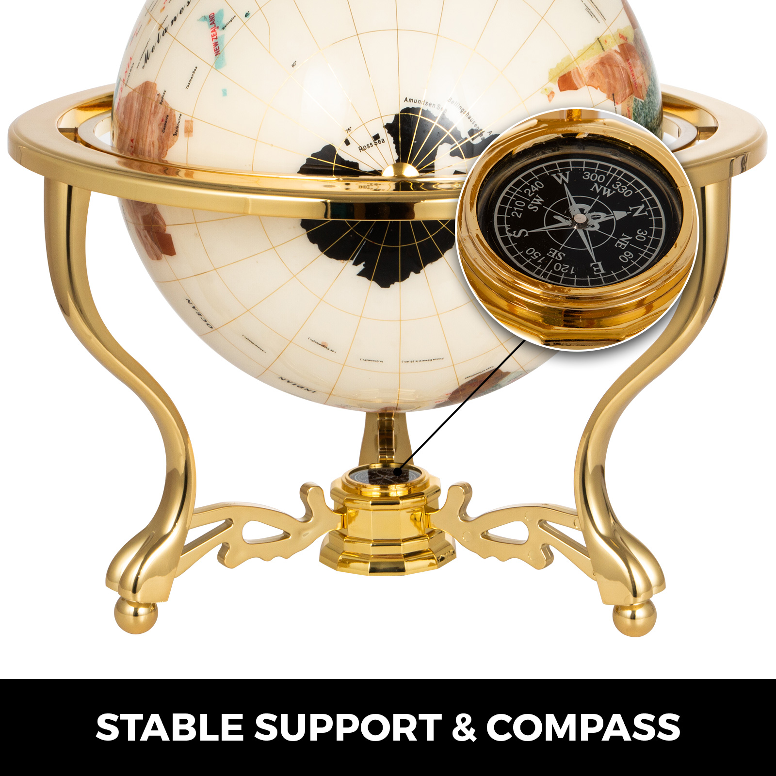 thumbnail 52 - VEVOR 36/21/14 World Globe with Stand Compass Vintage Pearl +Map