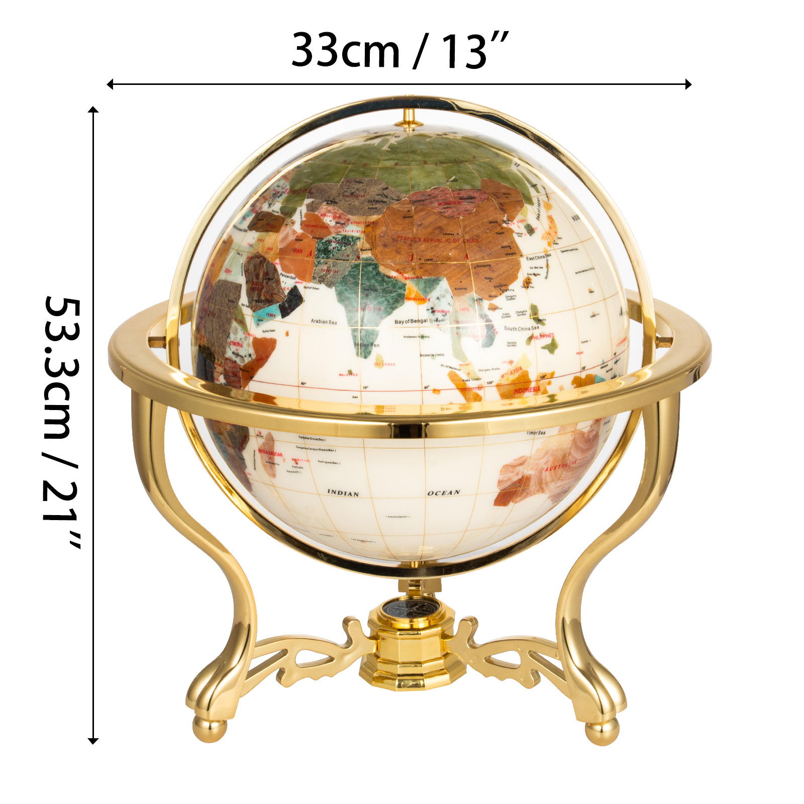 thumbnail 56 - VEVOR 36/21/14 World Globe with Stand Compass Vintage Pearl +Map
