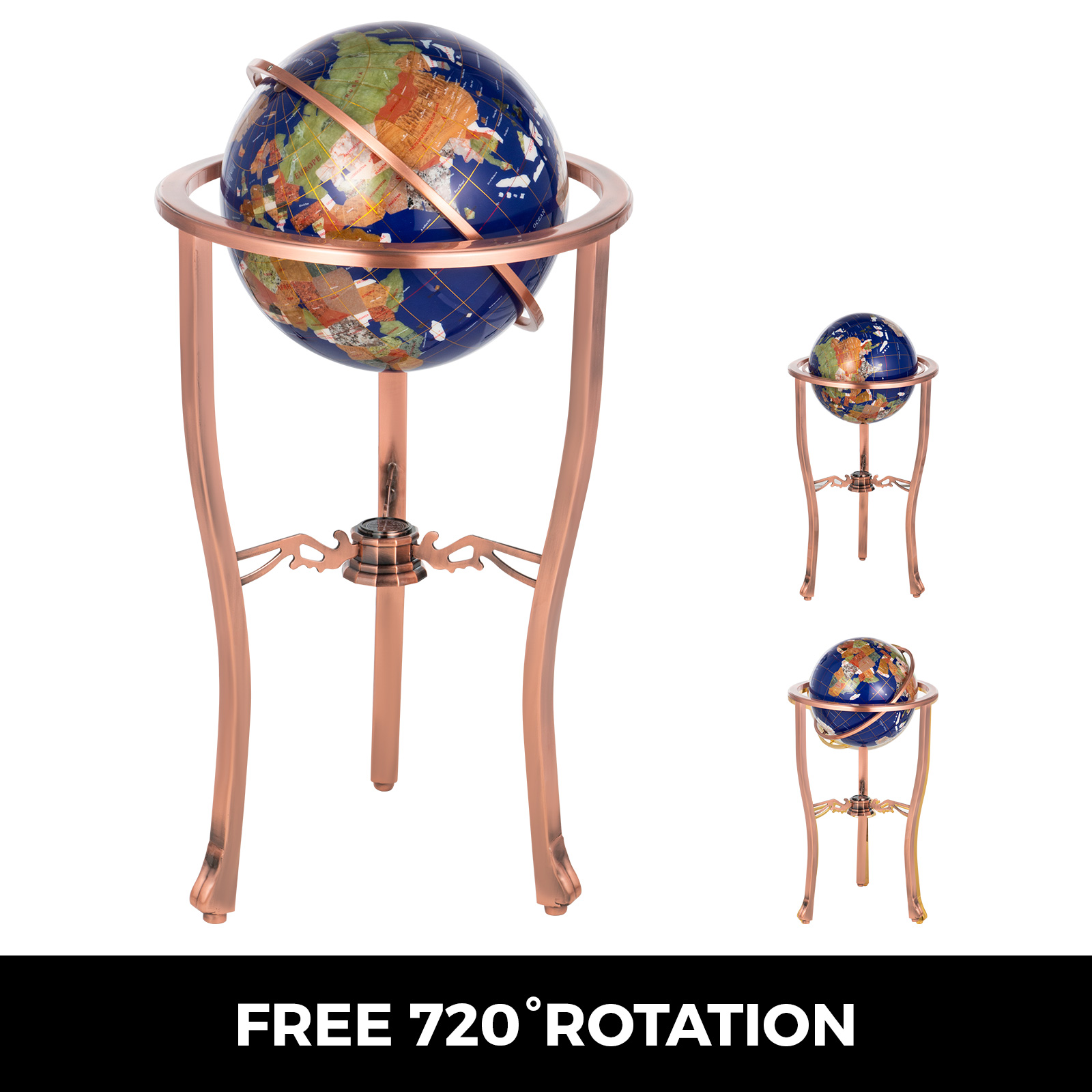 thumbnail 14 - VEVOR 36/21/14 World Globe with Stand Compass Vintage Pearl +Map