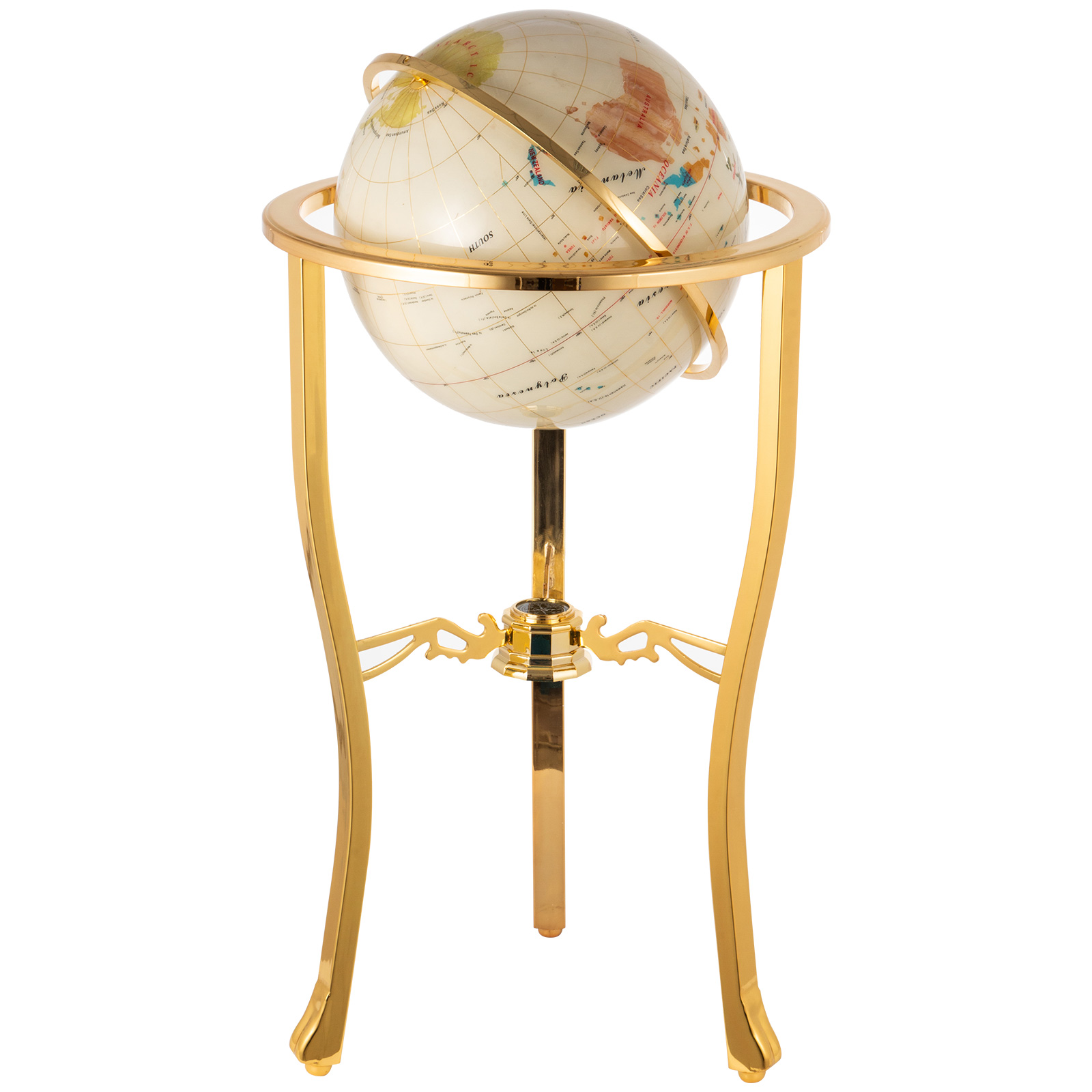 thumbnail 35 - VEVOR 36/21/14 World Globe with Stand Compass Vintage Pearl +Map