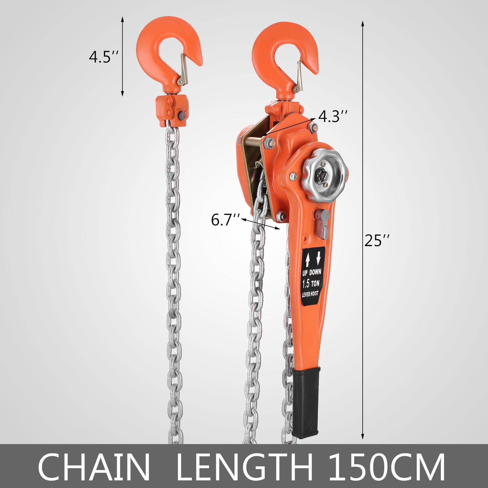 Chain Lever Hoist Come Along Ratchet Lift 1 5 Ton Capacity