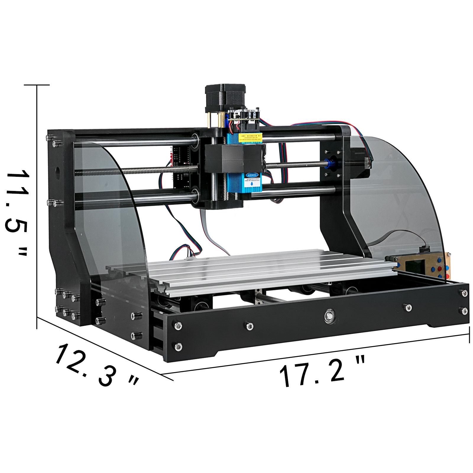 VEVOR CNC 3018 Pro Fräsmaschine 3 Achse Graviermaschine 15//5,5//2,5//0,5W//Basis