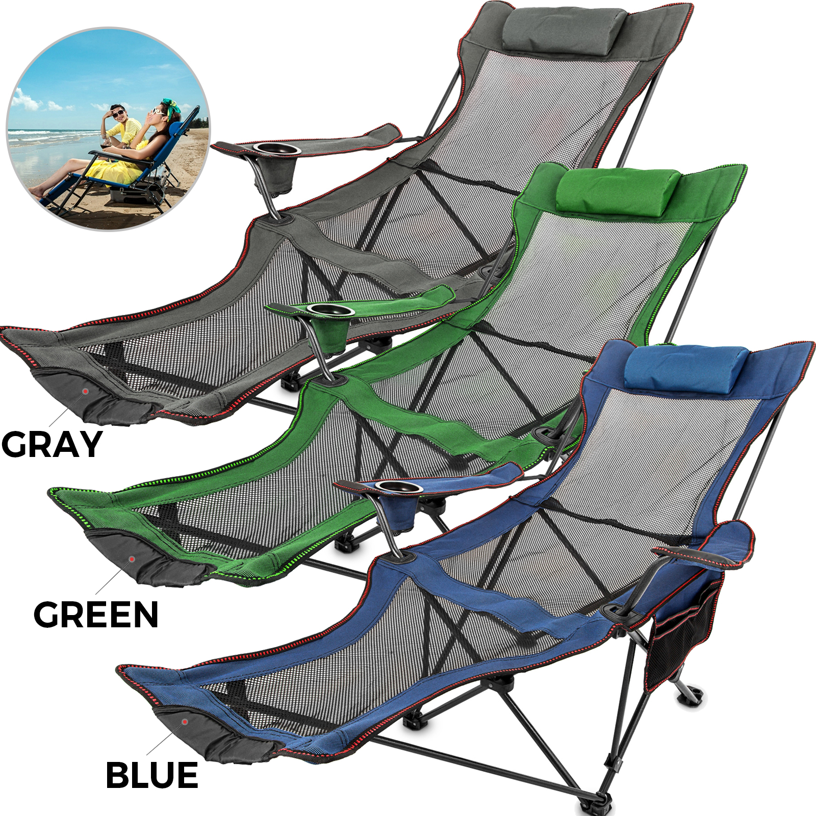 Cool Details About Green Blue Gray Reclining Folding Camp Chair W Footrest Lounge Chaise Footrest Pabps2019 Chair Design Images Pabps2019Com