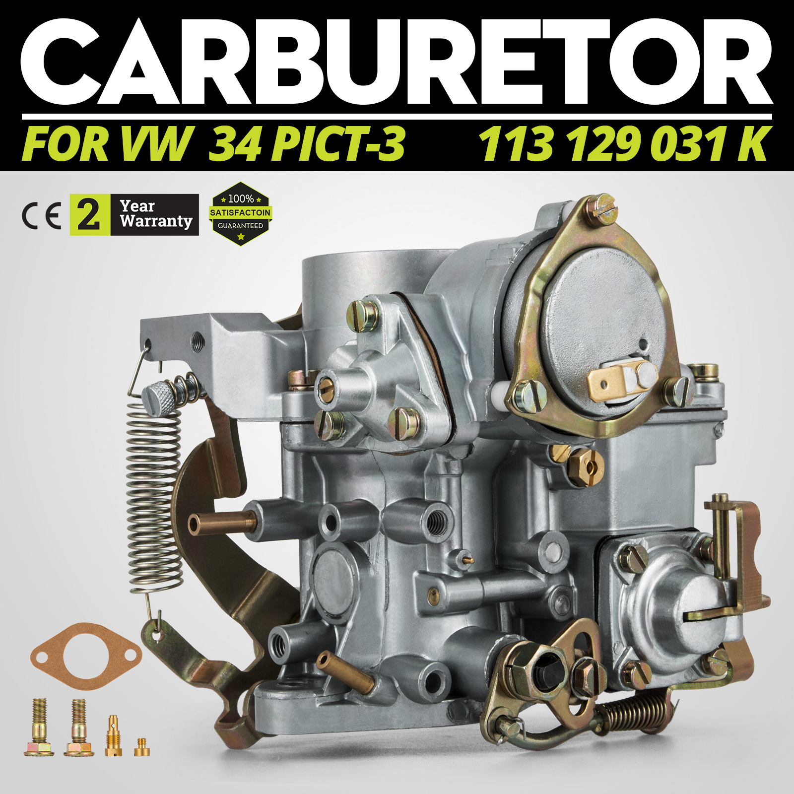 VW Beetle 34 PICT-3 Carburetor 113 129 031 K Type 1 And 2