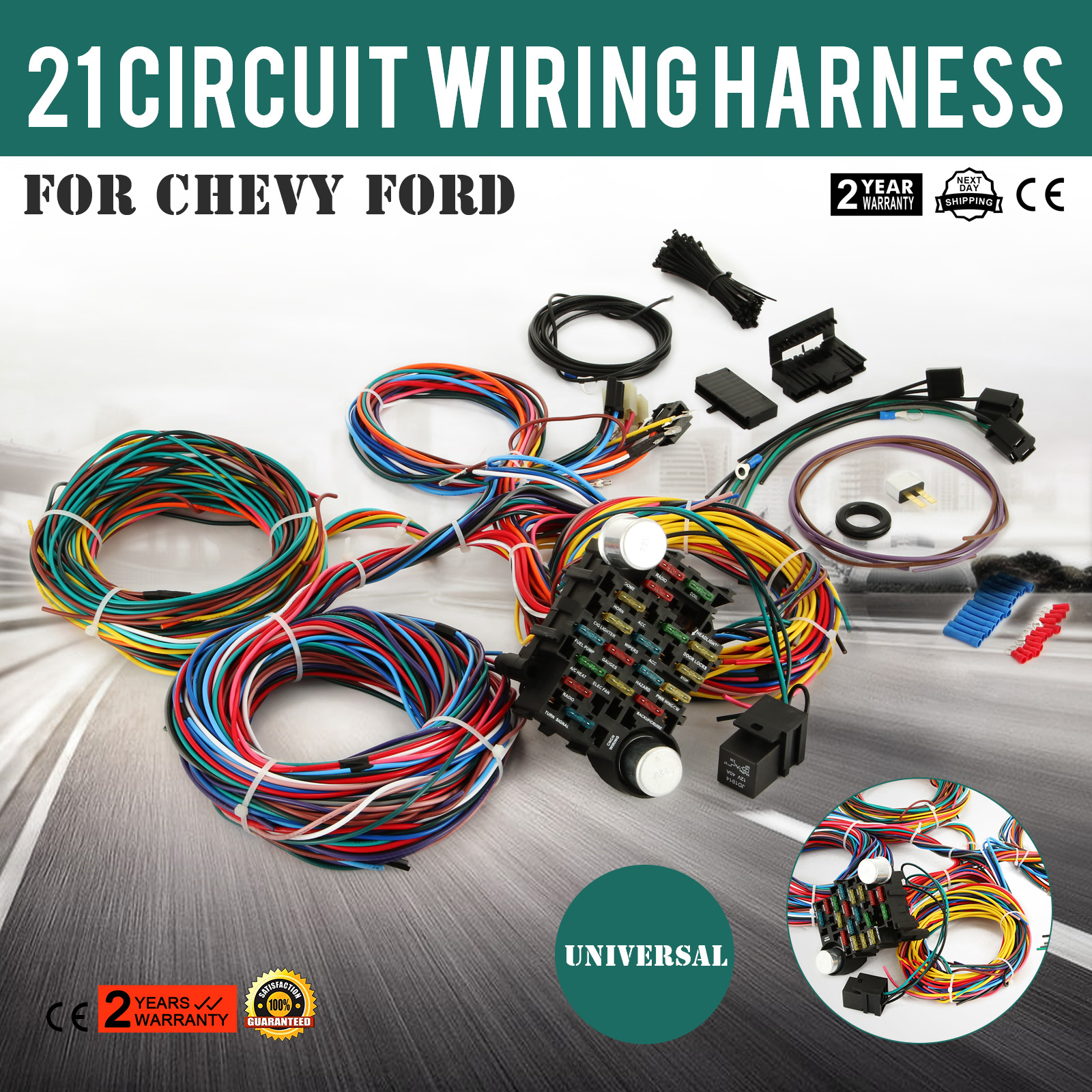 21 Circuit Wiring Harness For Chevy Universal Wires Fit X-long ... on chevy warning sticker, chevy alternator harness, chevy wiring horn, chevy clutch assembly, chevy 1500 wireing harness color codes, chevy rear diff, chevy battery terminal, chevy front fender, chevy speaker wiring, chevy radiator cap, chevy wheel cylinders, chevy fan motor, chevy wiring schematics, chevy relay switch, chevy speaker harness, chevy crossmember, chevy power socket, chevy wiring connectors, chevy clutch line, chevy abs unit,