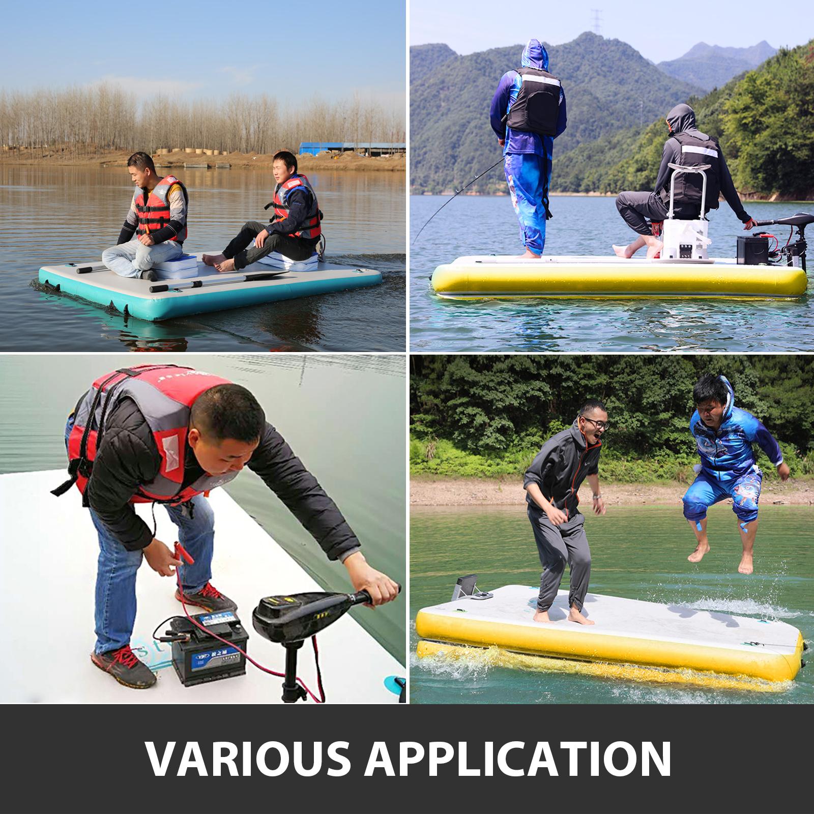 6/' x 5/' Inflatable Island Inflatable Floating Mesa Dock Swim Deck Platform
