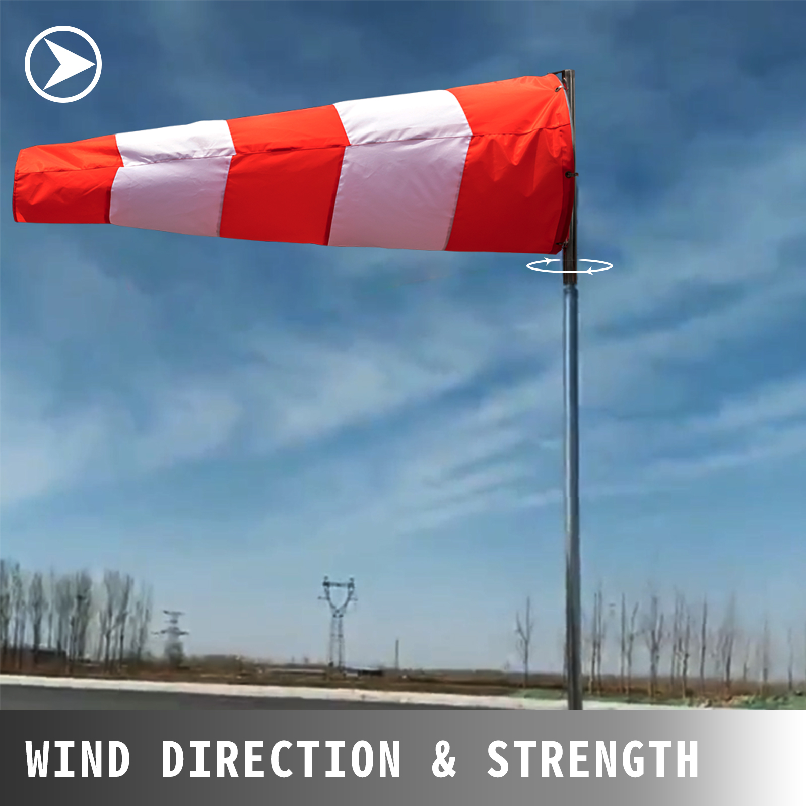 VEVOR Airport Windsock Wind Direction Sock 13 x 54 Inch Aviation Wind Sock Orange Red w//White Nylon Windsock Weatherproof Airport Wind Sock Outdoor Air Direction Indicator for Airport Farm /& Park