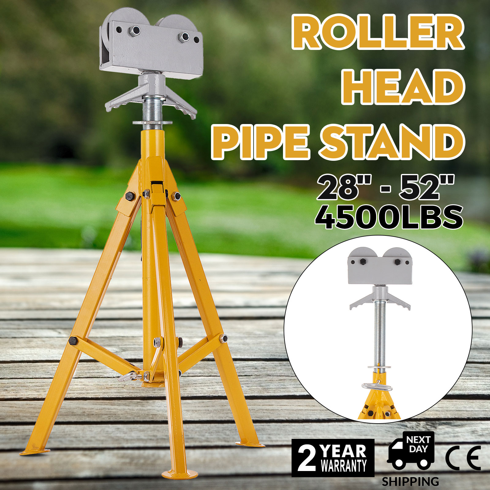 "Height 32/""-55/"" 4500lbs. Pipe Capacity 12/"" Fold-a-Jack Roller Head Pipe Stand"