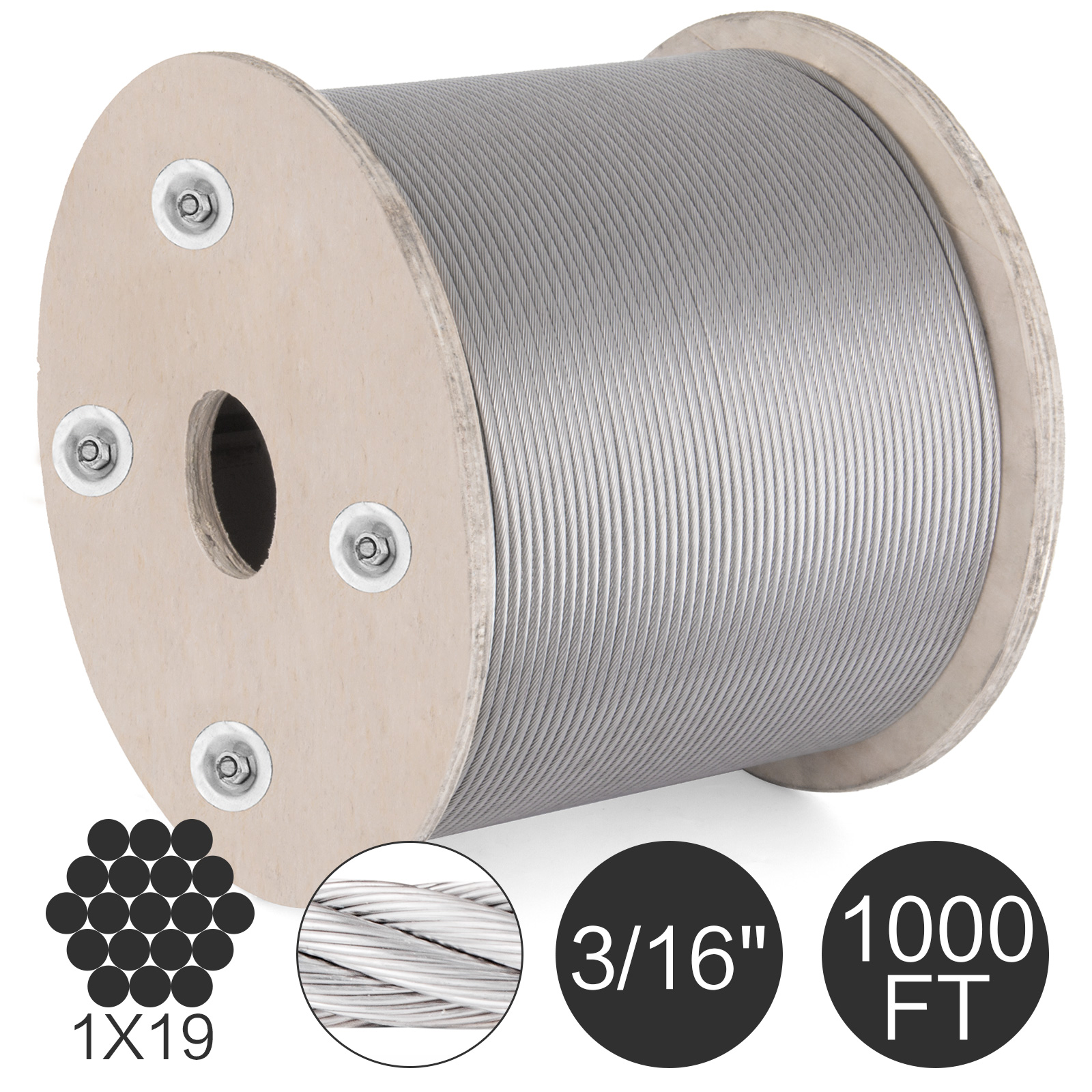 "1x19 3//16/"" 500 ft Cable Railing T316 Stainless Steel Wire Rope Cable Strand"