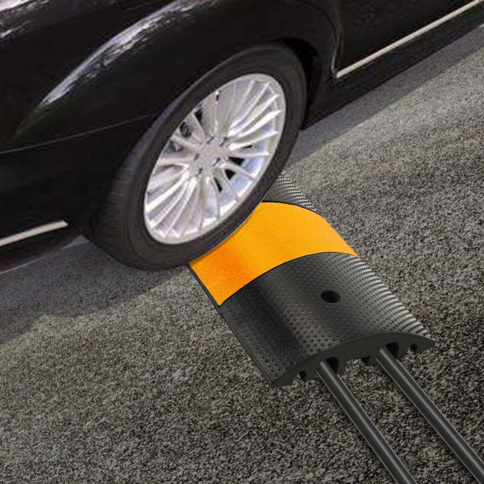Details about 2 Channel Rubber Speed Bump/Car Curb Ramp Heavy Duty Traffic  Control Truck