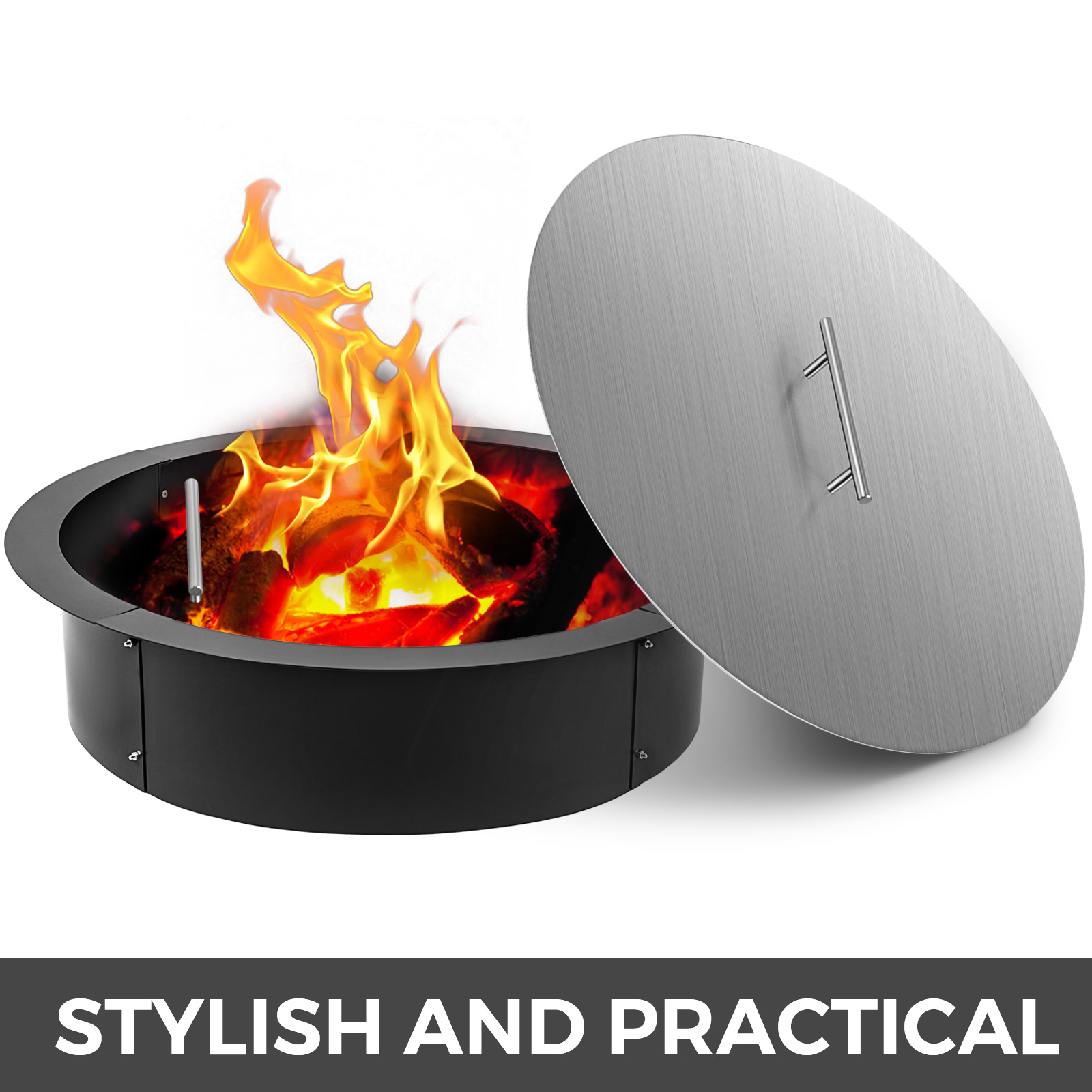 """40/"""" Stainless Steel Fire Pit  Cover Metal Round campfire Ring Covers Lid"""
