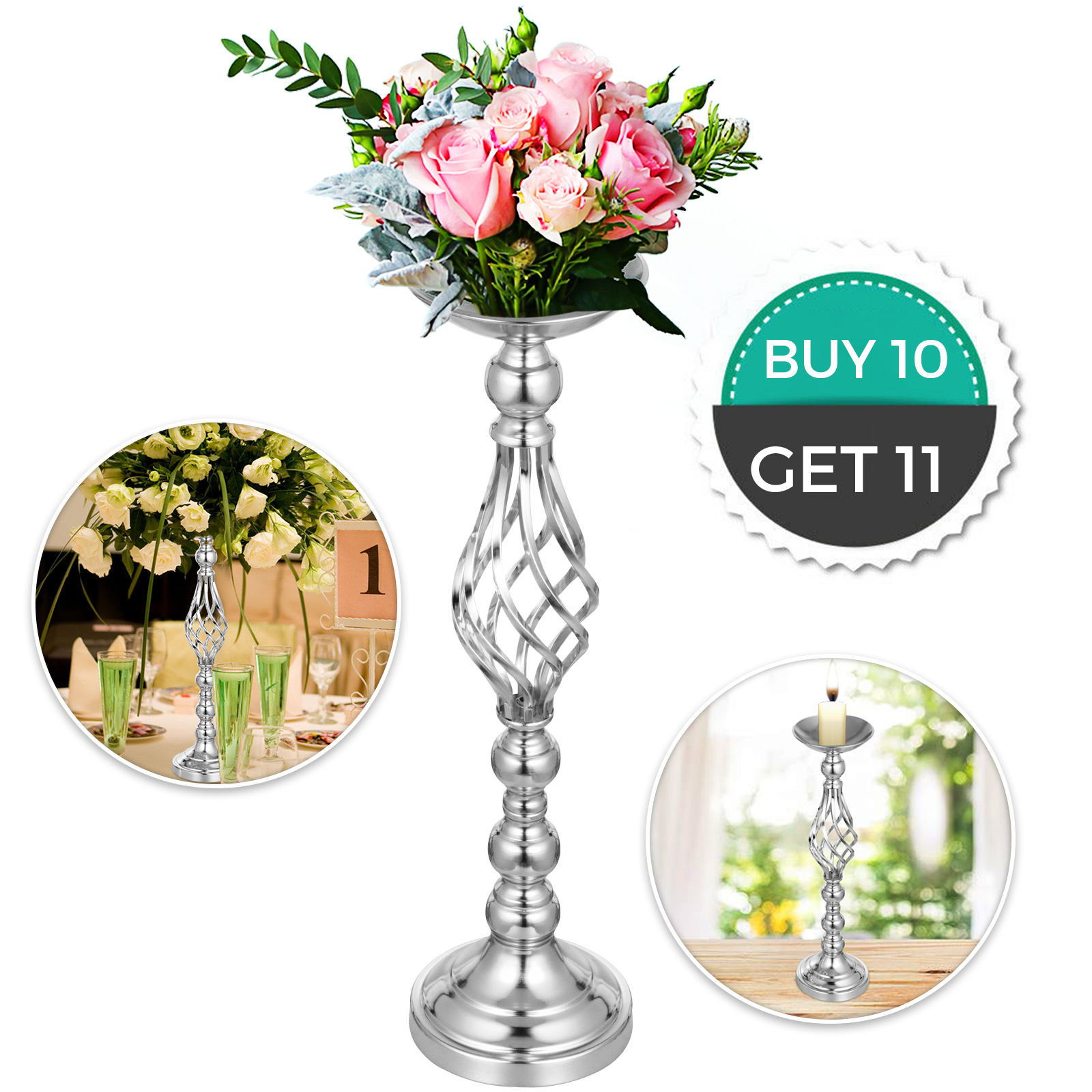 Flower-Rack-for-Wedding-Metal-Candle-Stand-4-11pcs-Centerpiece-Flower-Vase thumbnail 13