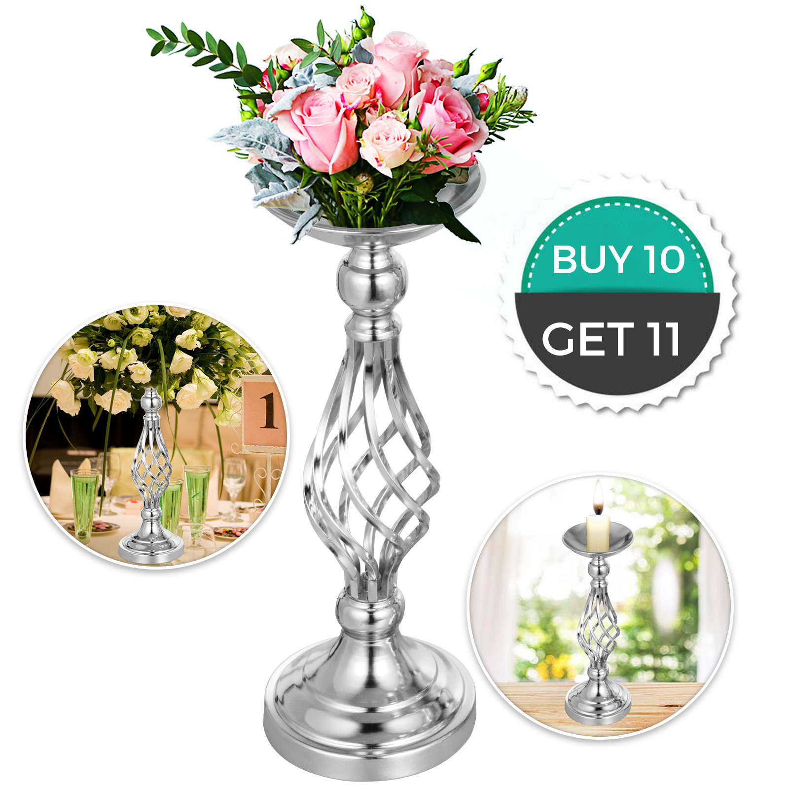 Flower-Rack-for-Wedding-Metal-Candle-Stand-4-11pcs-Centerpiece-Flower-Vase thumbnail 37