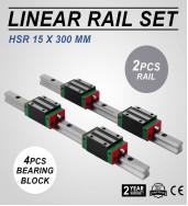 4Pcs HSR15CA Block 2X HSR15-1500mm Linear Rail Shaft Rod Optional