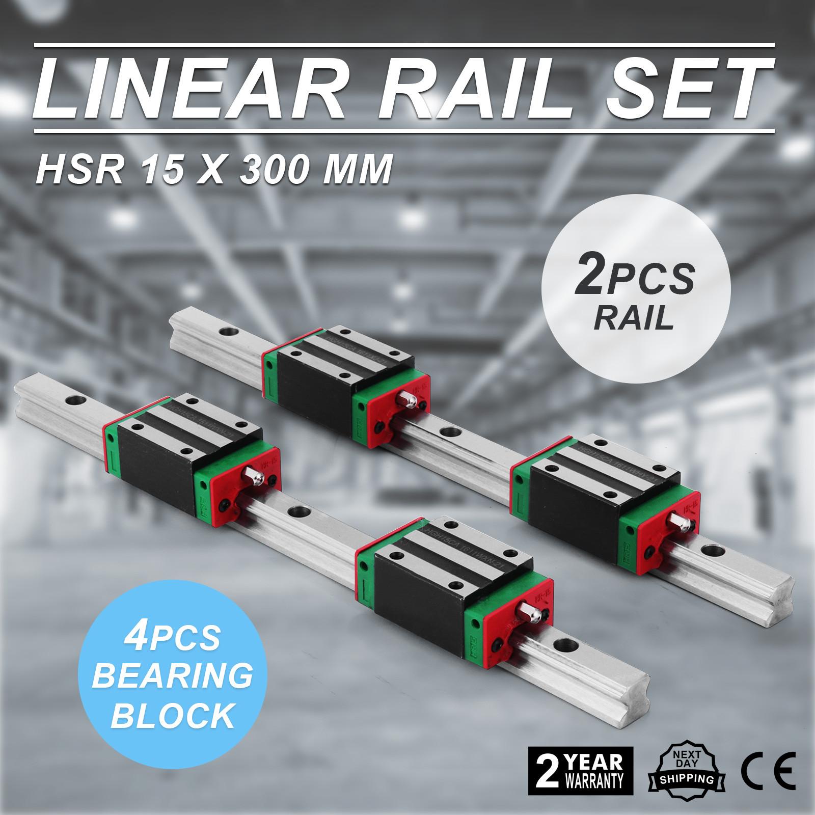 15-300mm 2x Linear Guideway Rail profile 4x Pillow block carriage bearing block