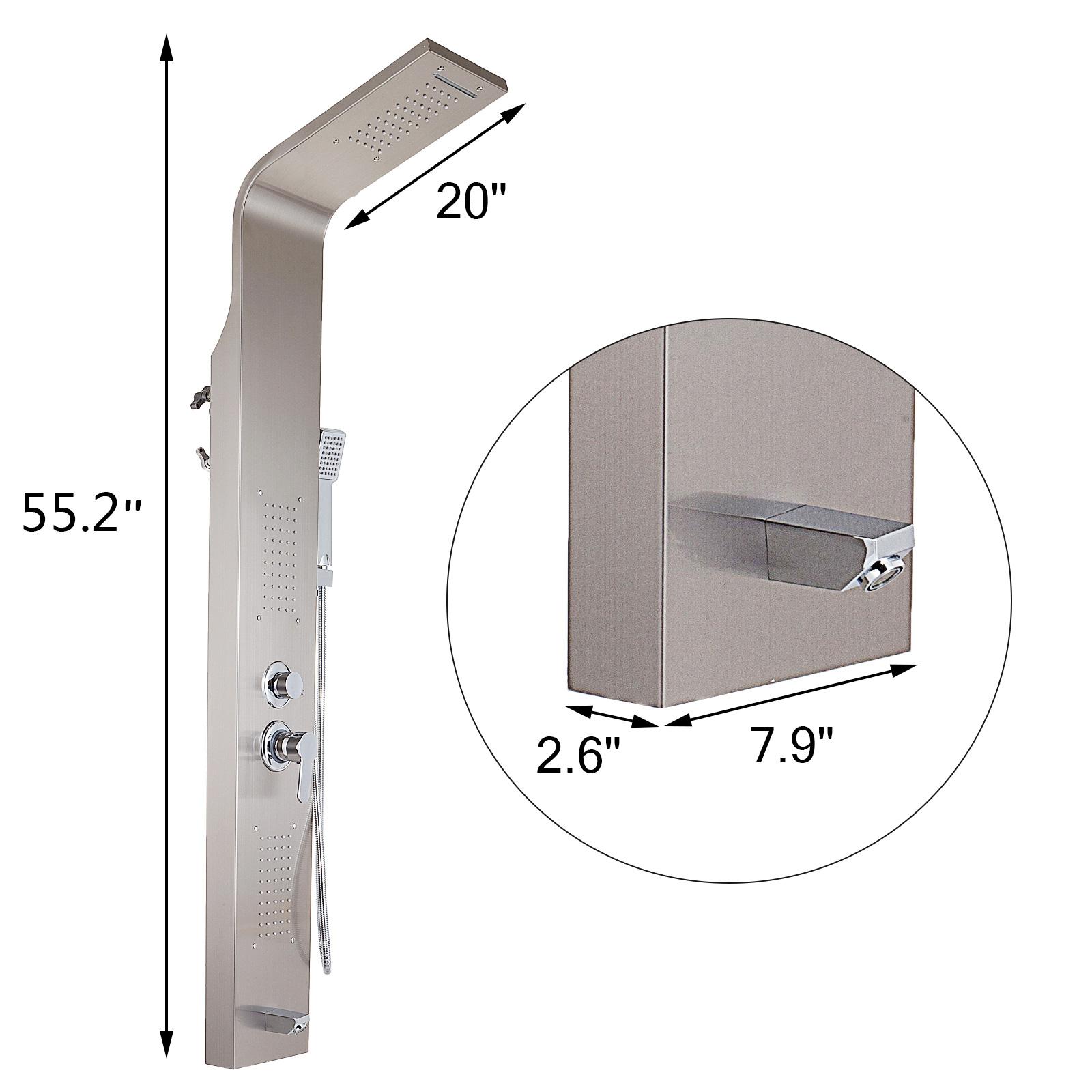 Pannello-doccia-idromassaggio-colonna-in-acciaio-inossidabile-con-miscelatore miniatura 38