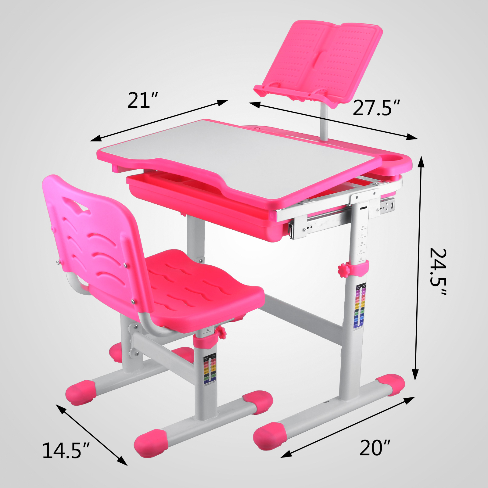 kids study table and chair set with storage little girls desk activity art craft ebay. Black Bedroom Furniture Sets. Home Design Ideas