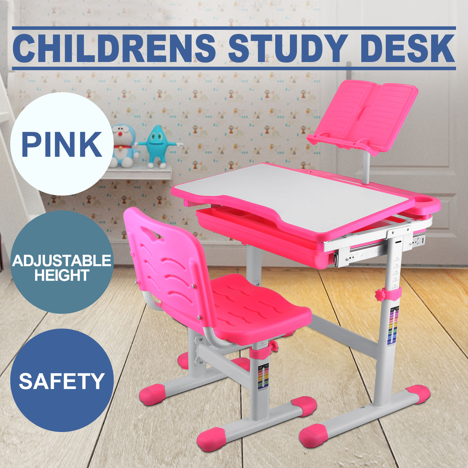 kids study table and chair set with storage little girls. Black Bedroom Furniture Sets. Home Design Ideas