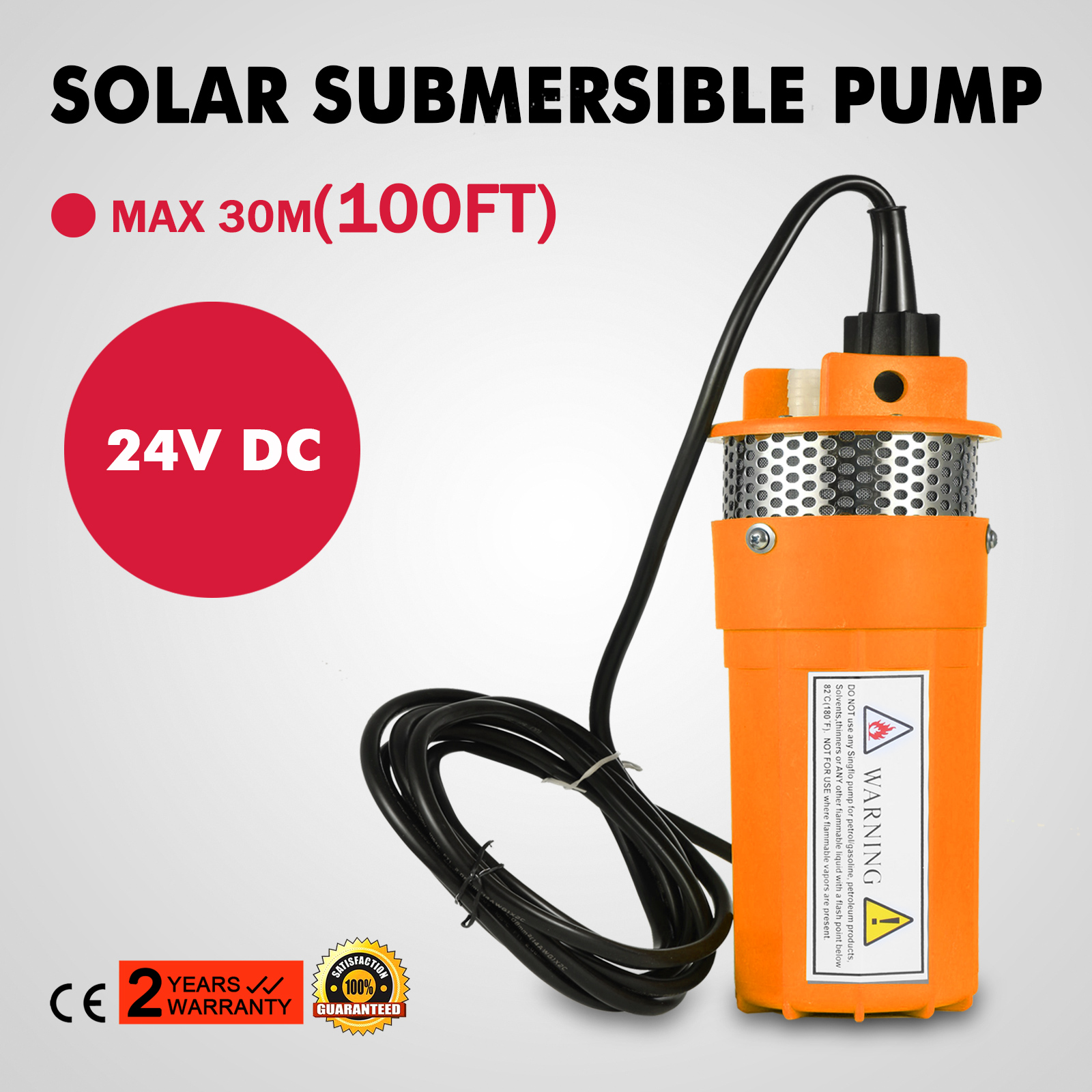 "230/""//70m Lift Whole Stainless//S DC 24V Solar Powered Submersible Well Water Pump"