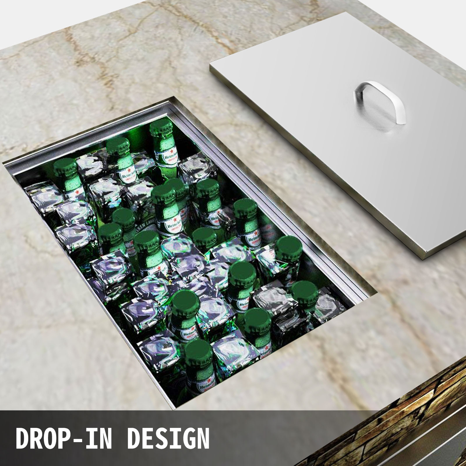 """Drop-in Ice Chest with Cover Bin Cooler 20/"""" x 13/"""" x 12/"""" for Wine Beer Juice"""