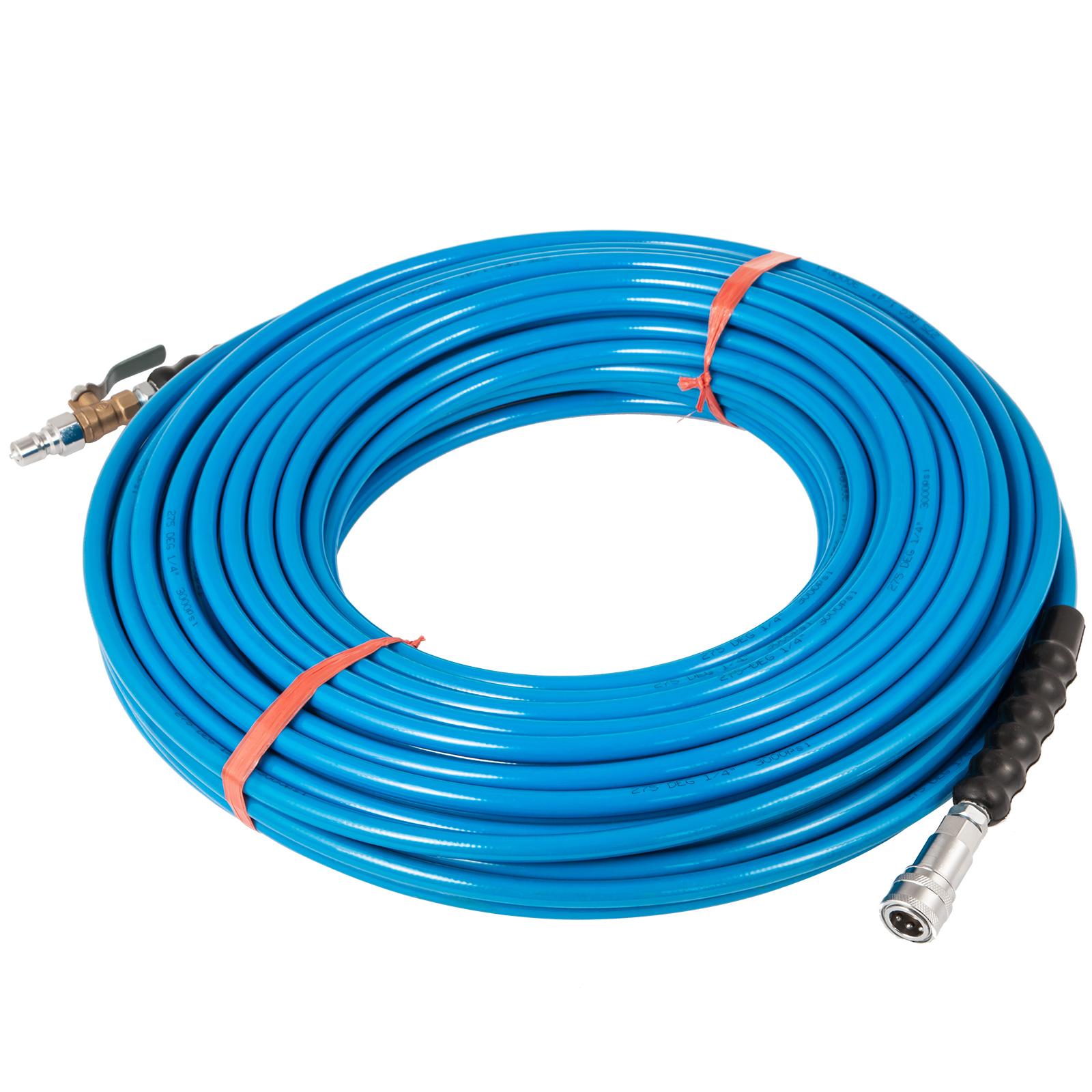 "50/' Blue High Pressure Solution Hose 1//4/"" 3000 PSI Carpet Cleaning"