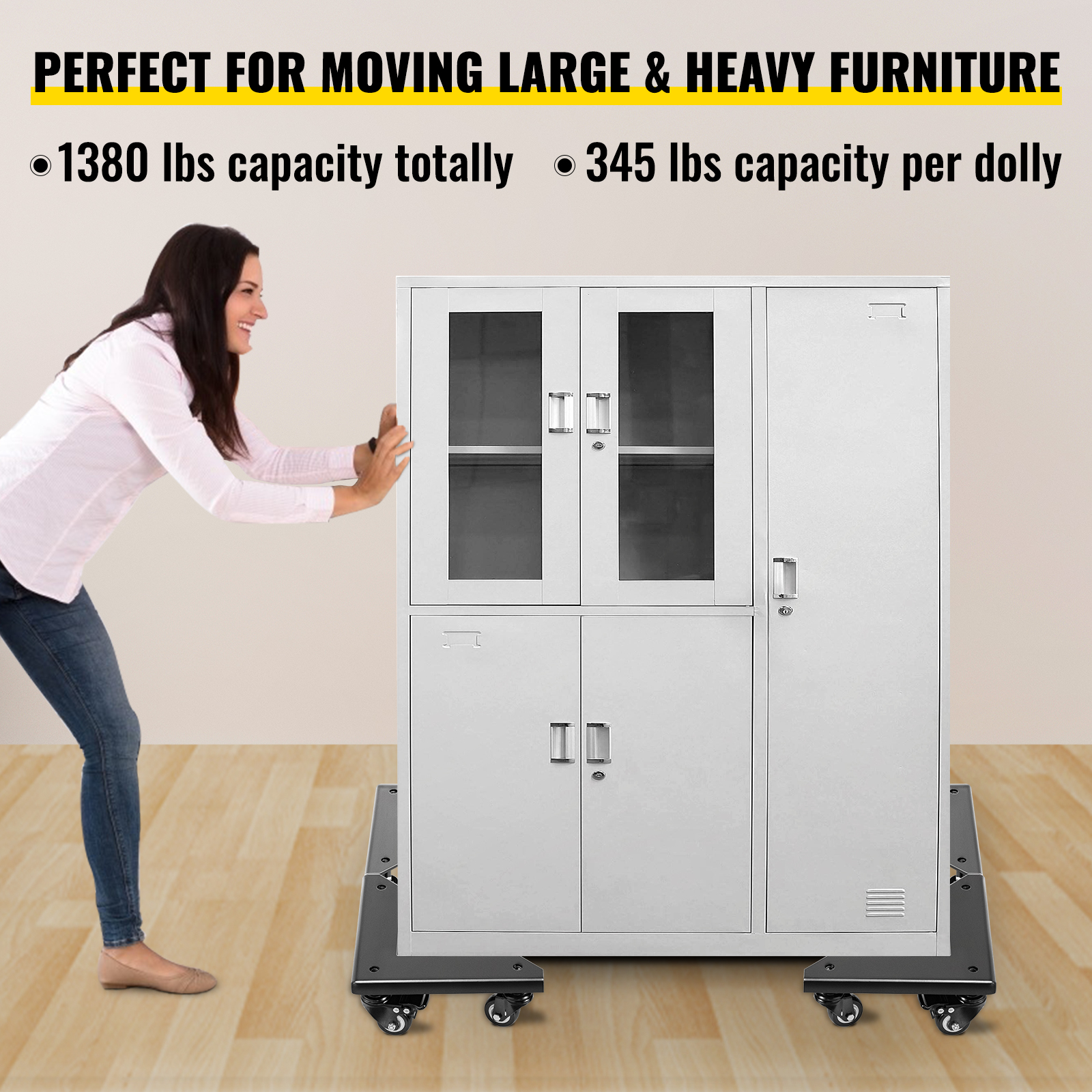 Furniture Dolly Corner Moving Dolly 1380Lbs Desk Cabinet Moving Cart 4-Pack